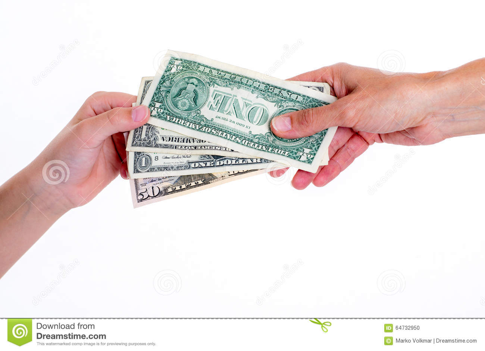 Due mani con i dollari soldi