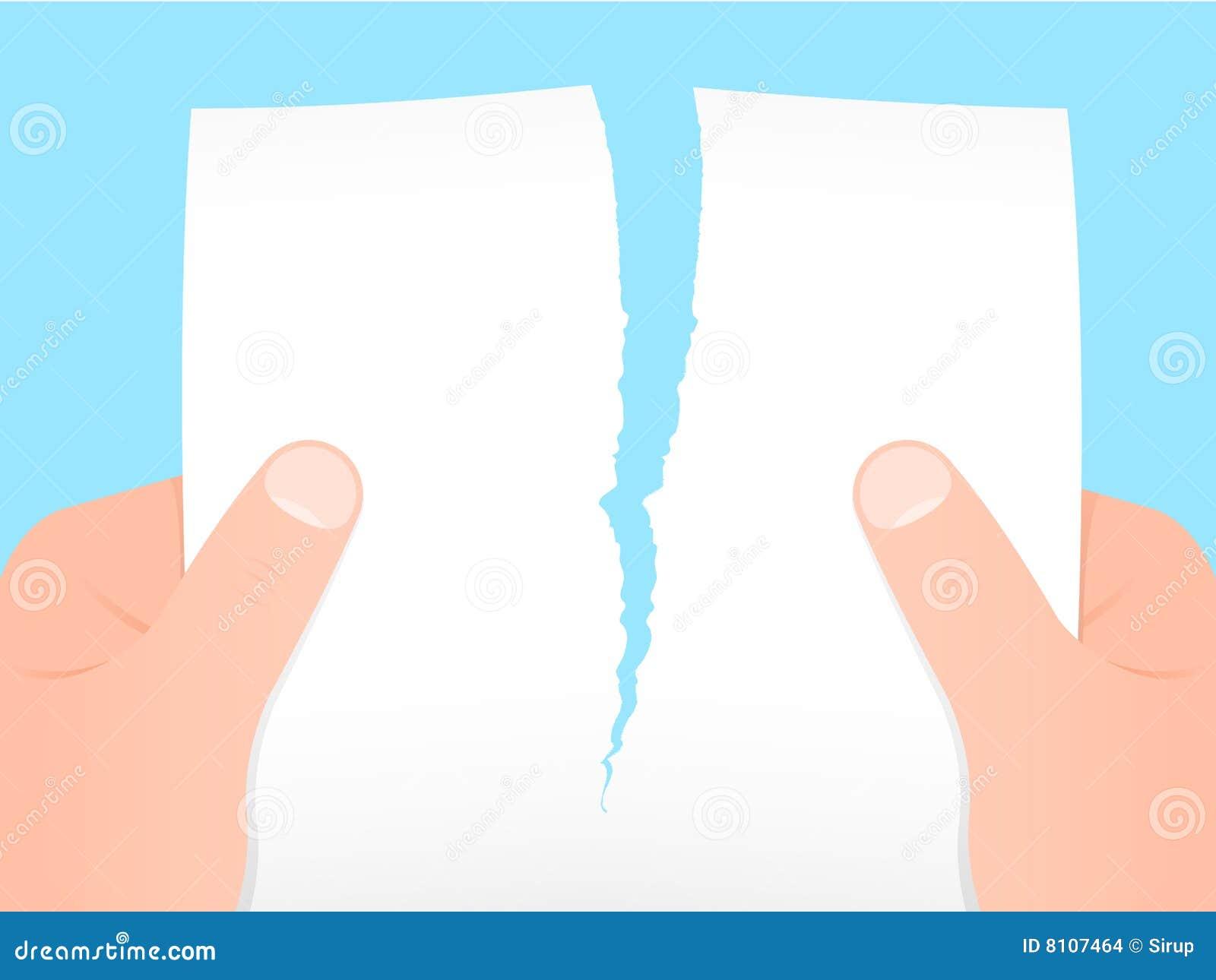 Due mani un foglio di carta in bianco strappare - Foglio laminato bianco ...
