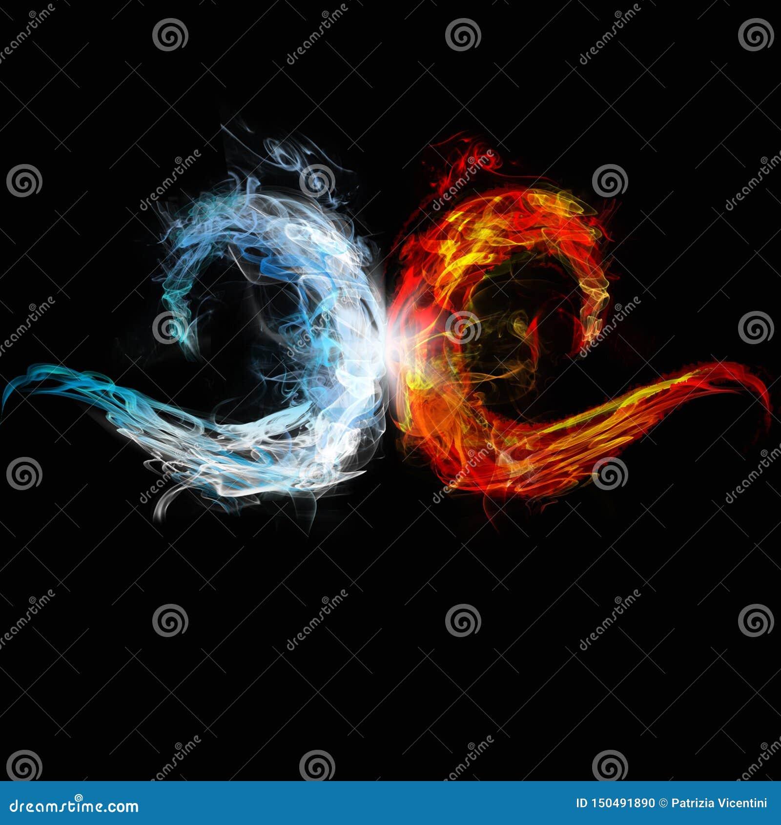 Due onde del raduno del fuoco e del ghiaccio