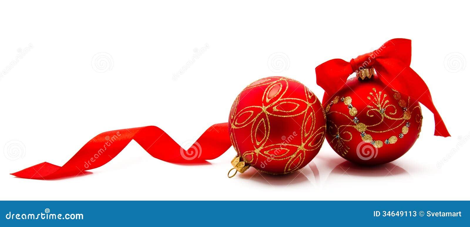Due Palle Rosse Di Natale Con Il Nastro Isolato Su Un Bianco Immagine Stock - Immagine: 34649113