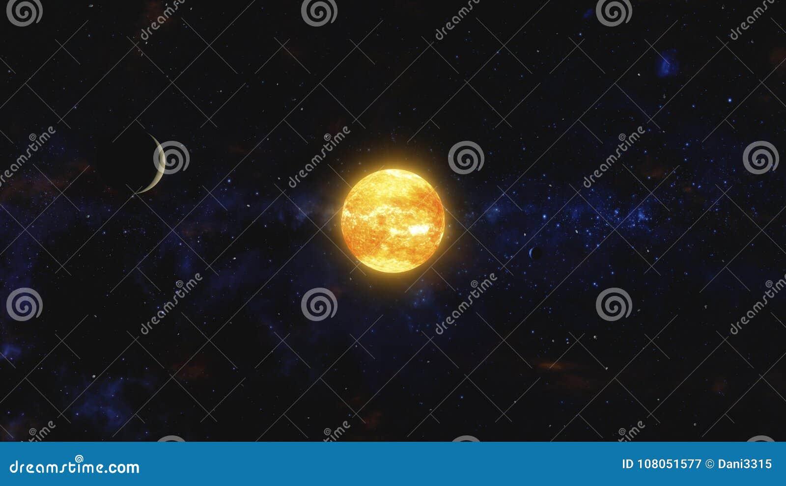 Due pianeti e detriti di spazio che orbitano stella vicina Spazio cosmico, arte cosmica e concetto della fantascienza