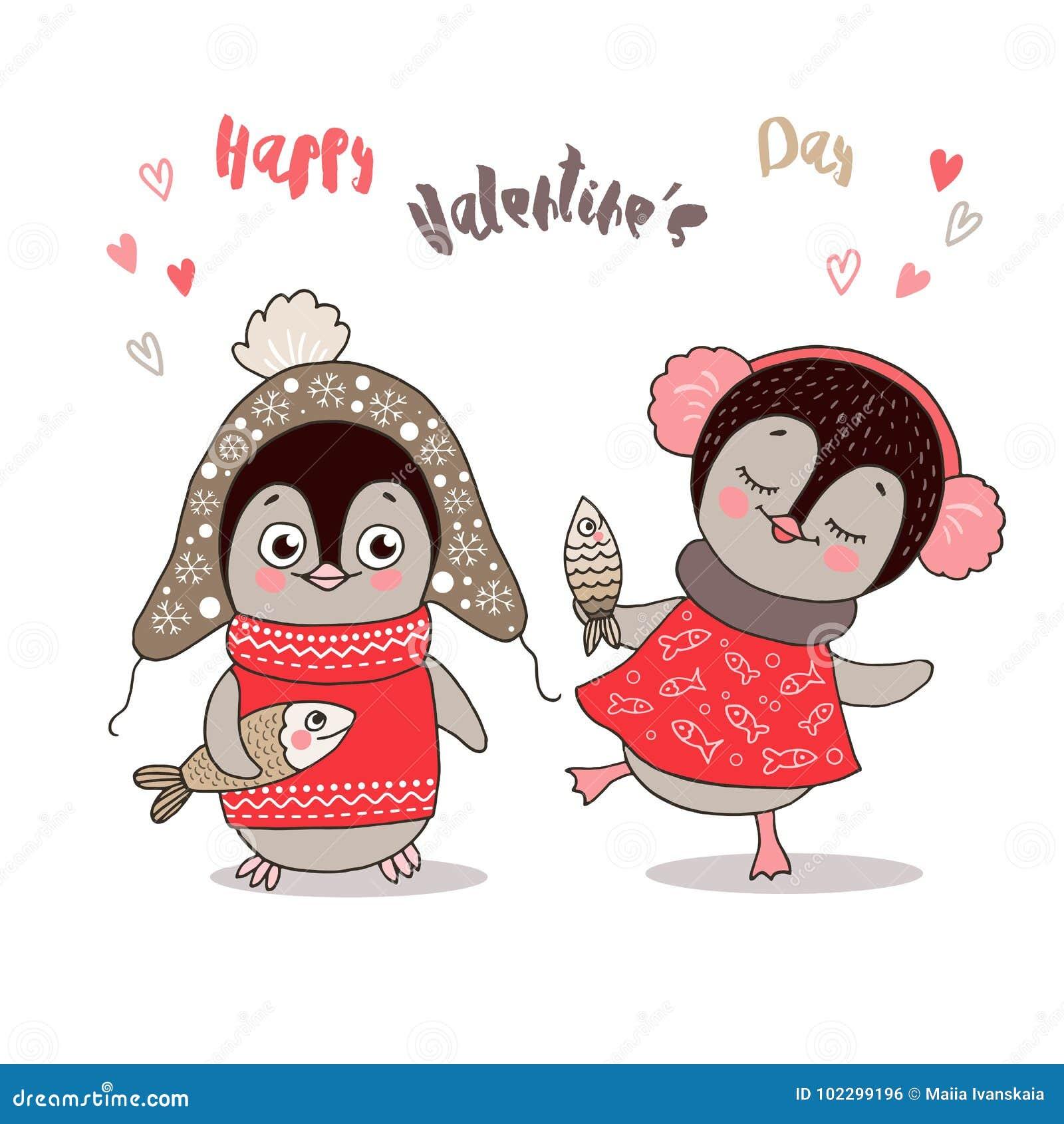 Due Pinguini Svegli Innamorati Illustrazione Vettoriale