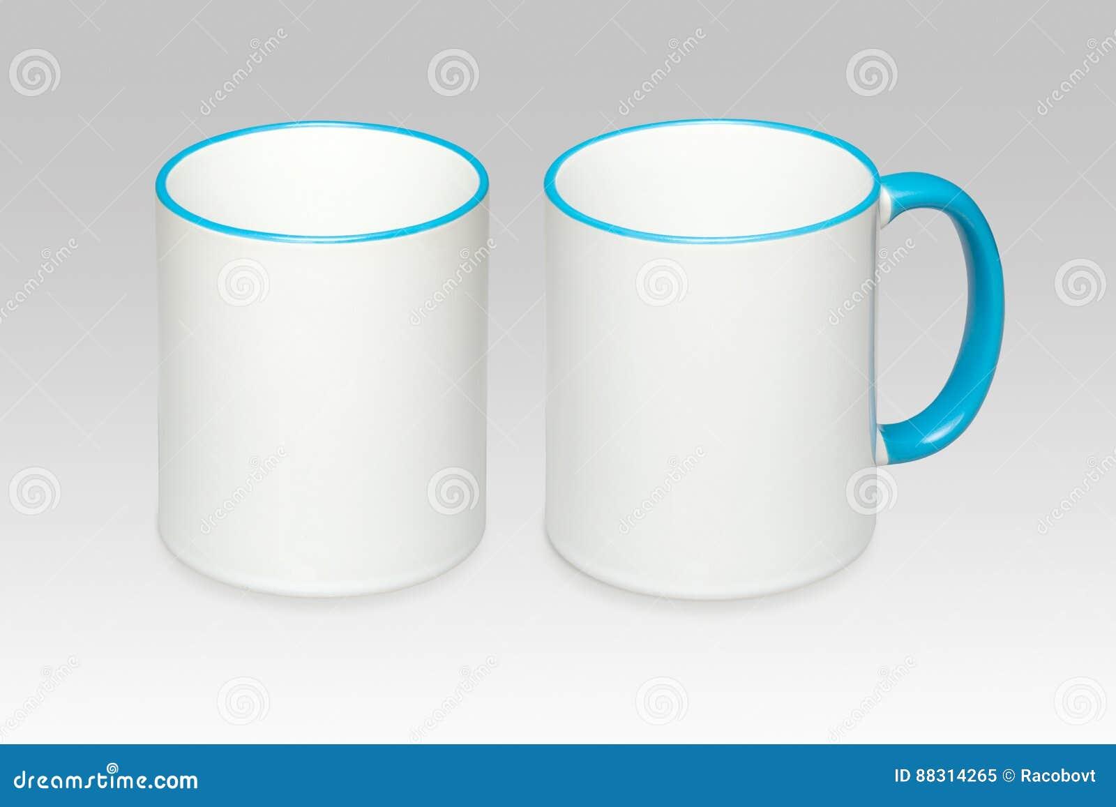 Due posizioni di una tazza bianca