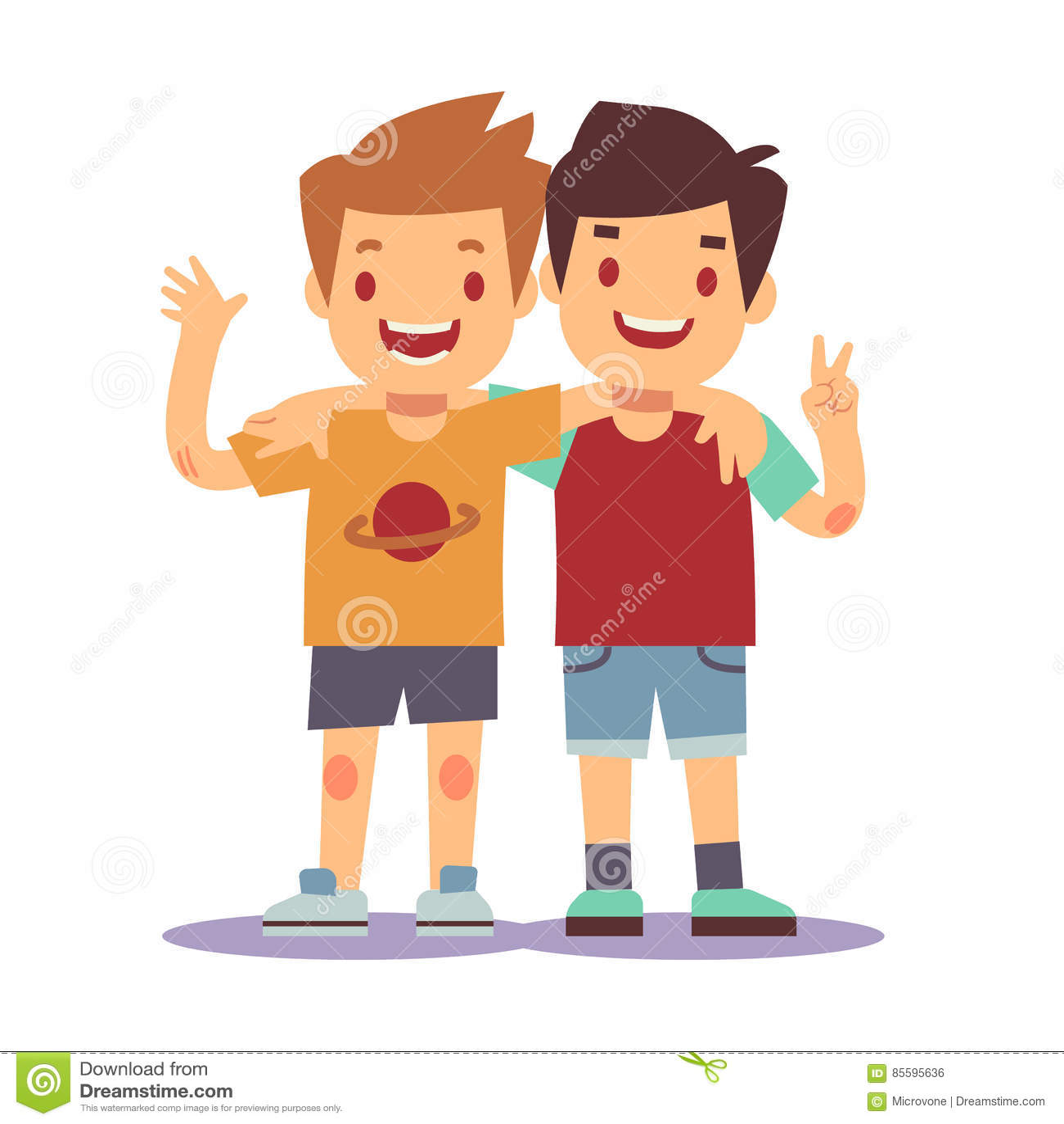 Due Ragazzi Che Abbracciano Migliori Amici Sorridere Felice