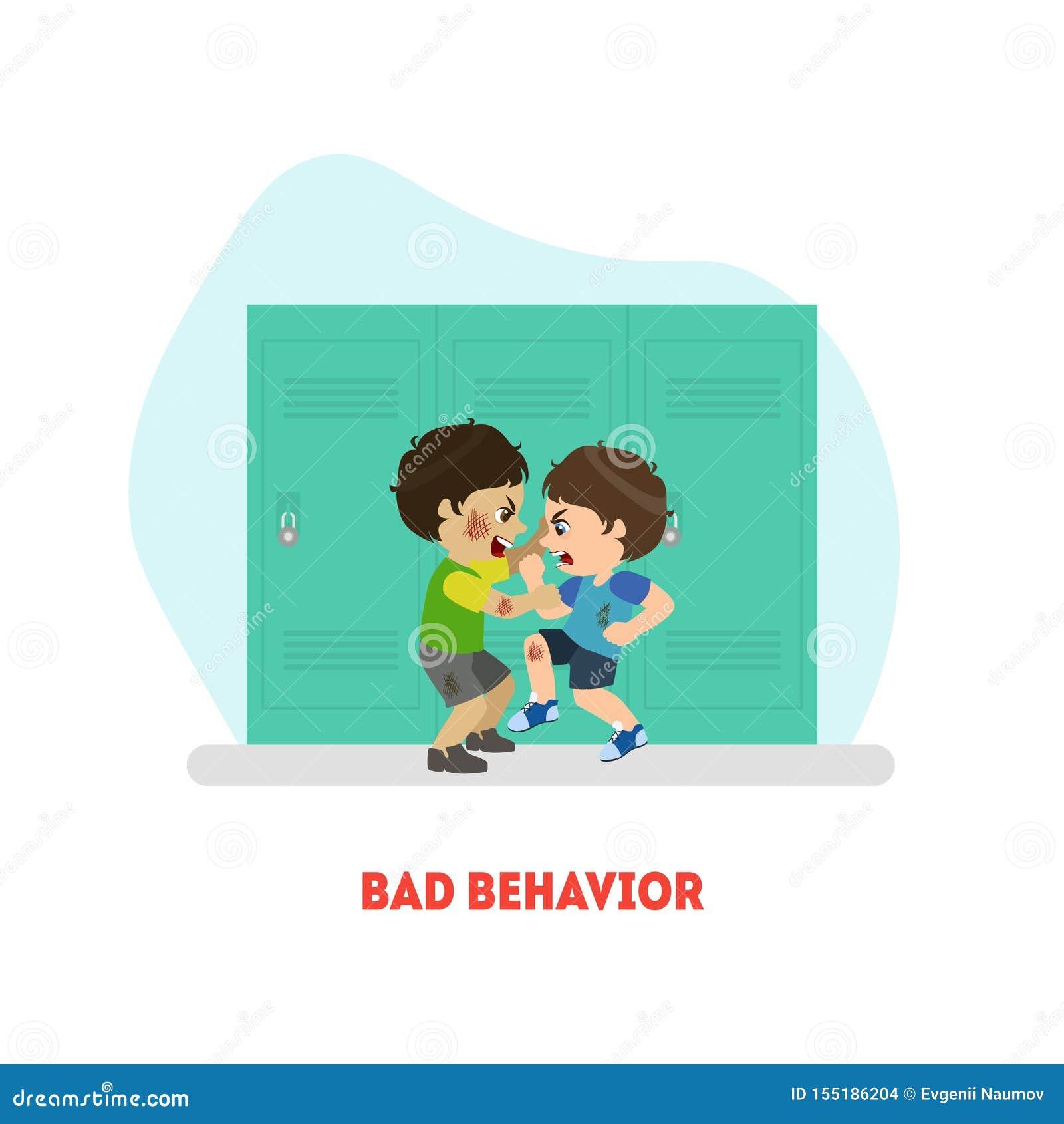 Due ragazzi che combattono, cattivo modello dell insegna di comportamento, conflitto fra l illustrazione di vettore dei bambini