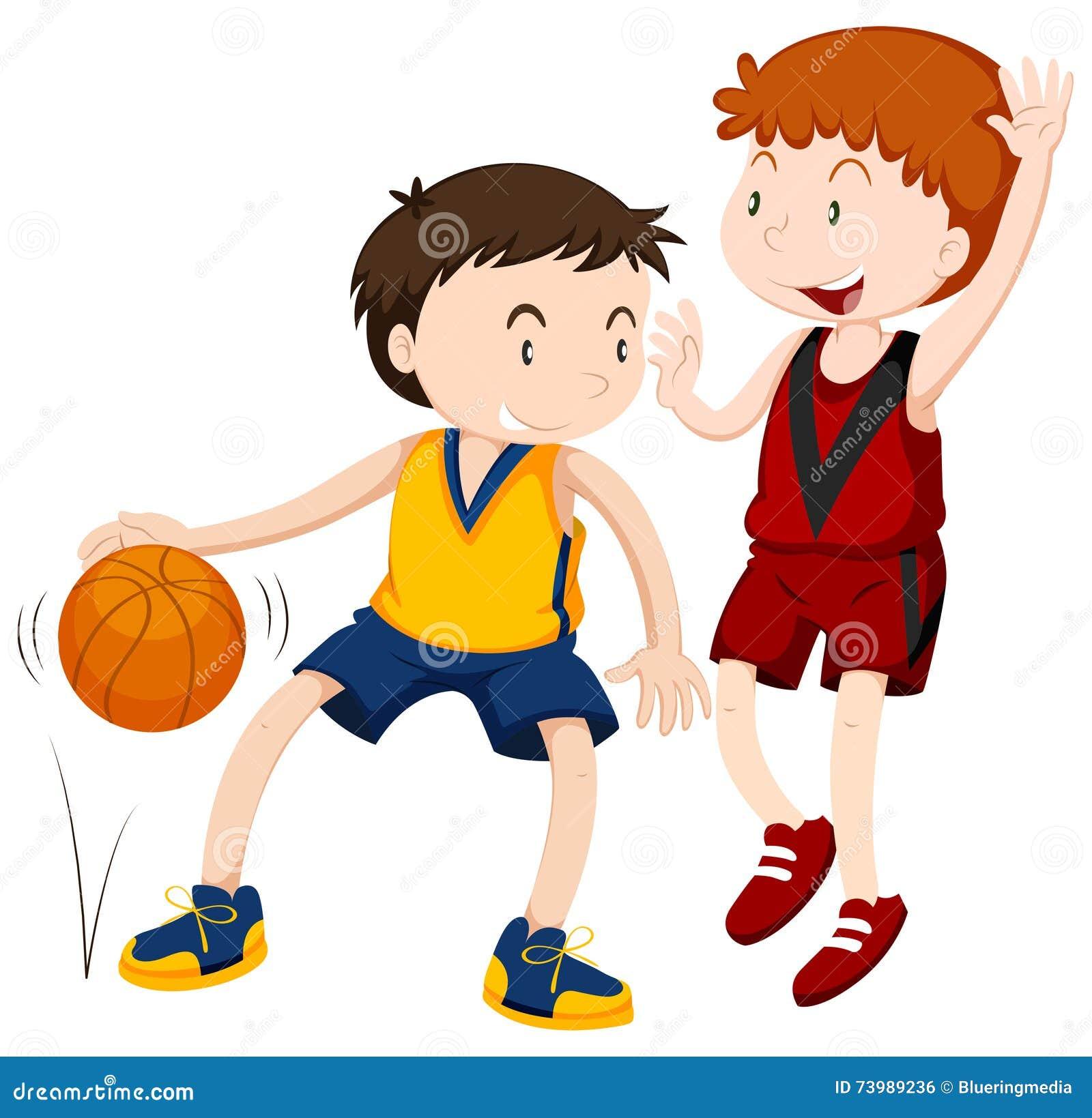 Due ragazzi che giocano pallacanestro