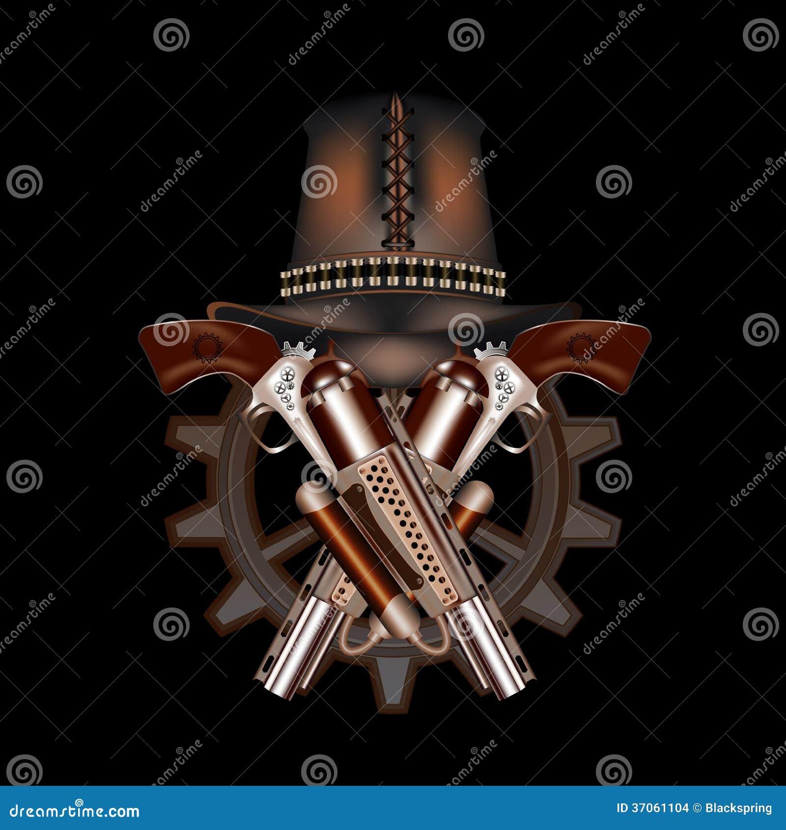 Due revolver e cappelli dello steampunk