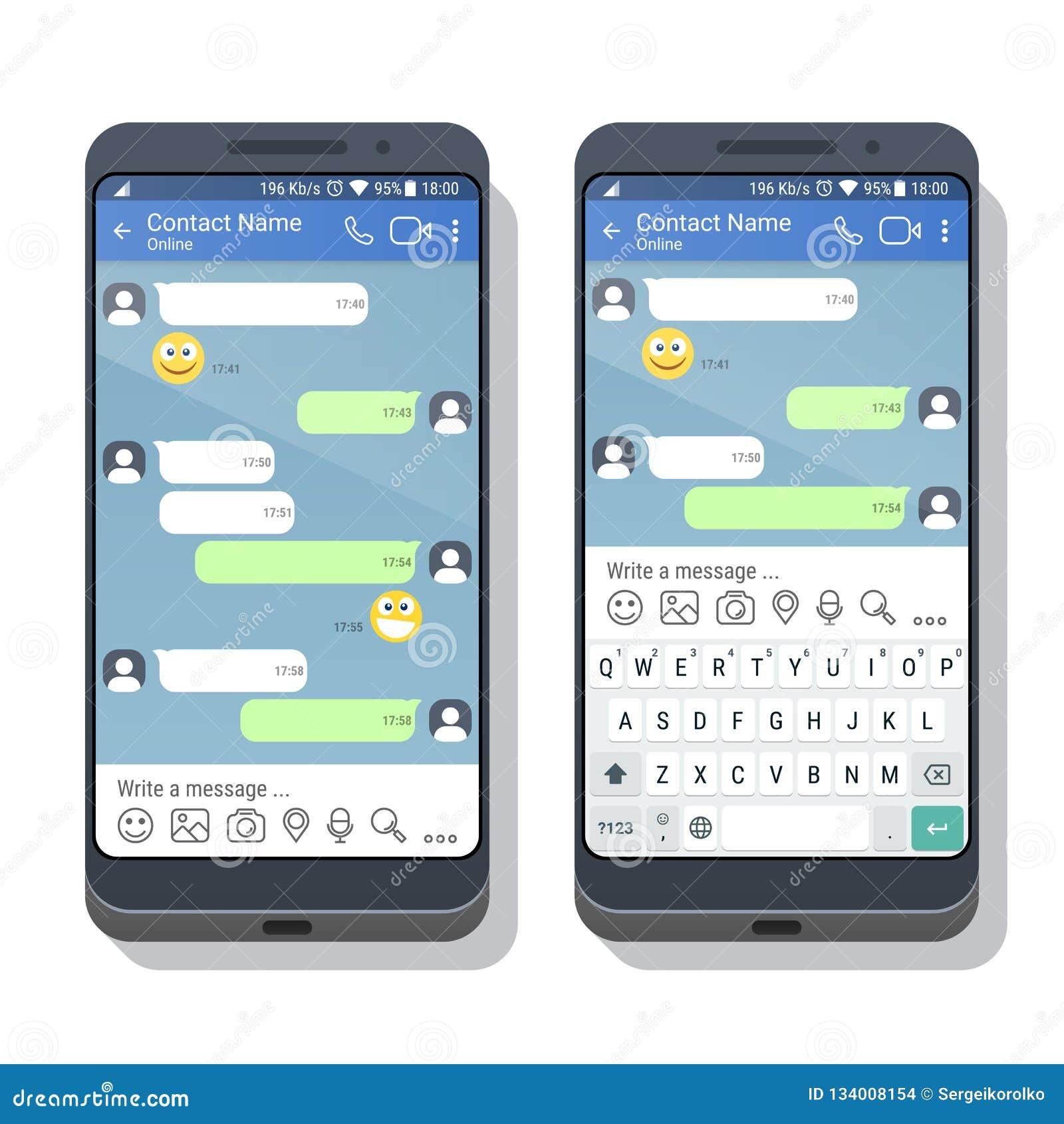 Due smartphones con il modello di applicazione del messaggero o della rete sociale con e senza la tastiera virtuale