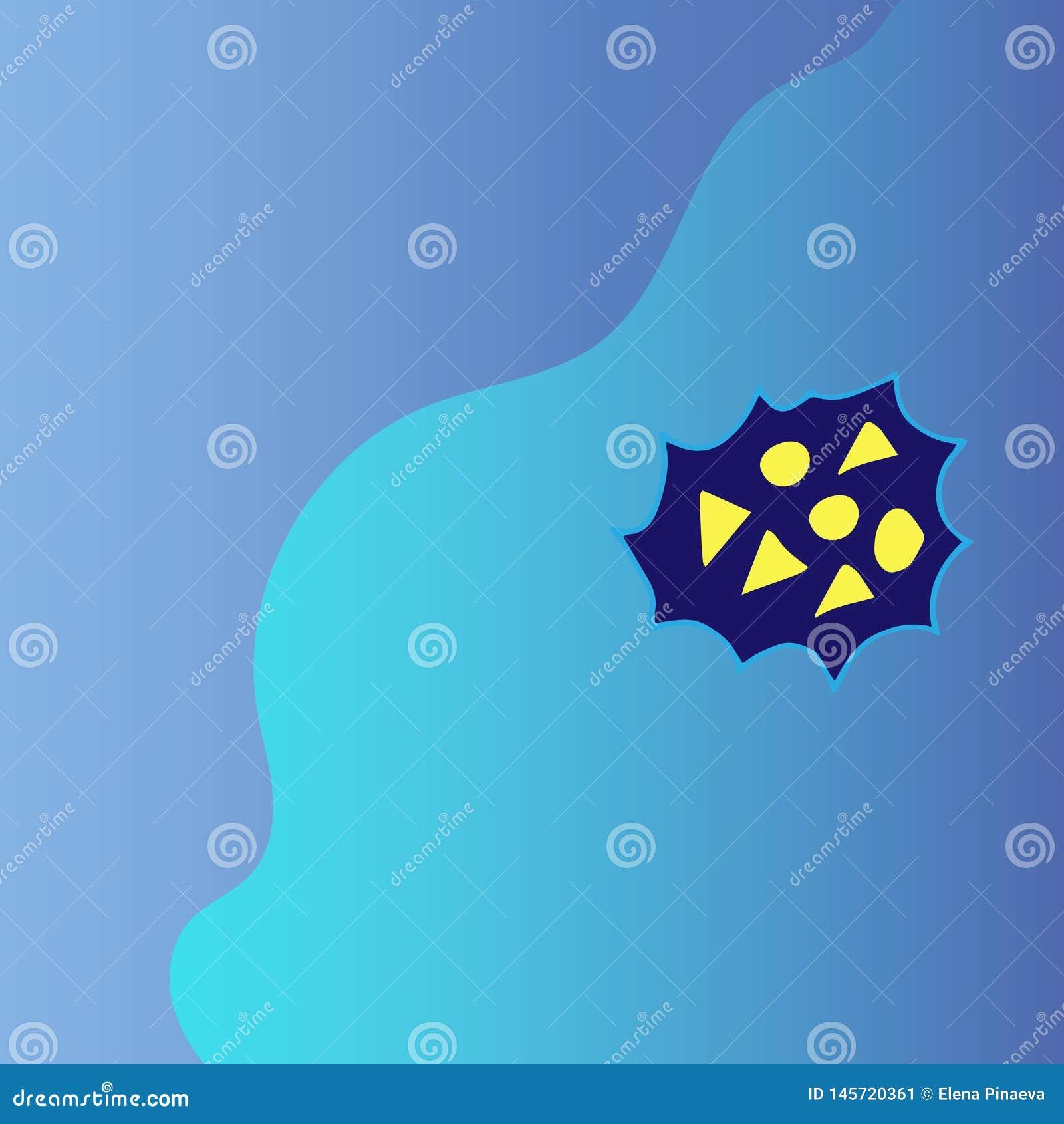 Due tonalità del blu sono separate da una linea regolare con gli oggetti gialli geometrici