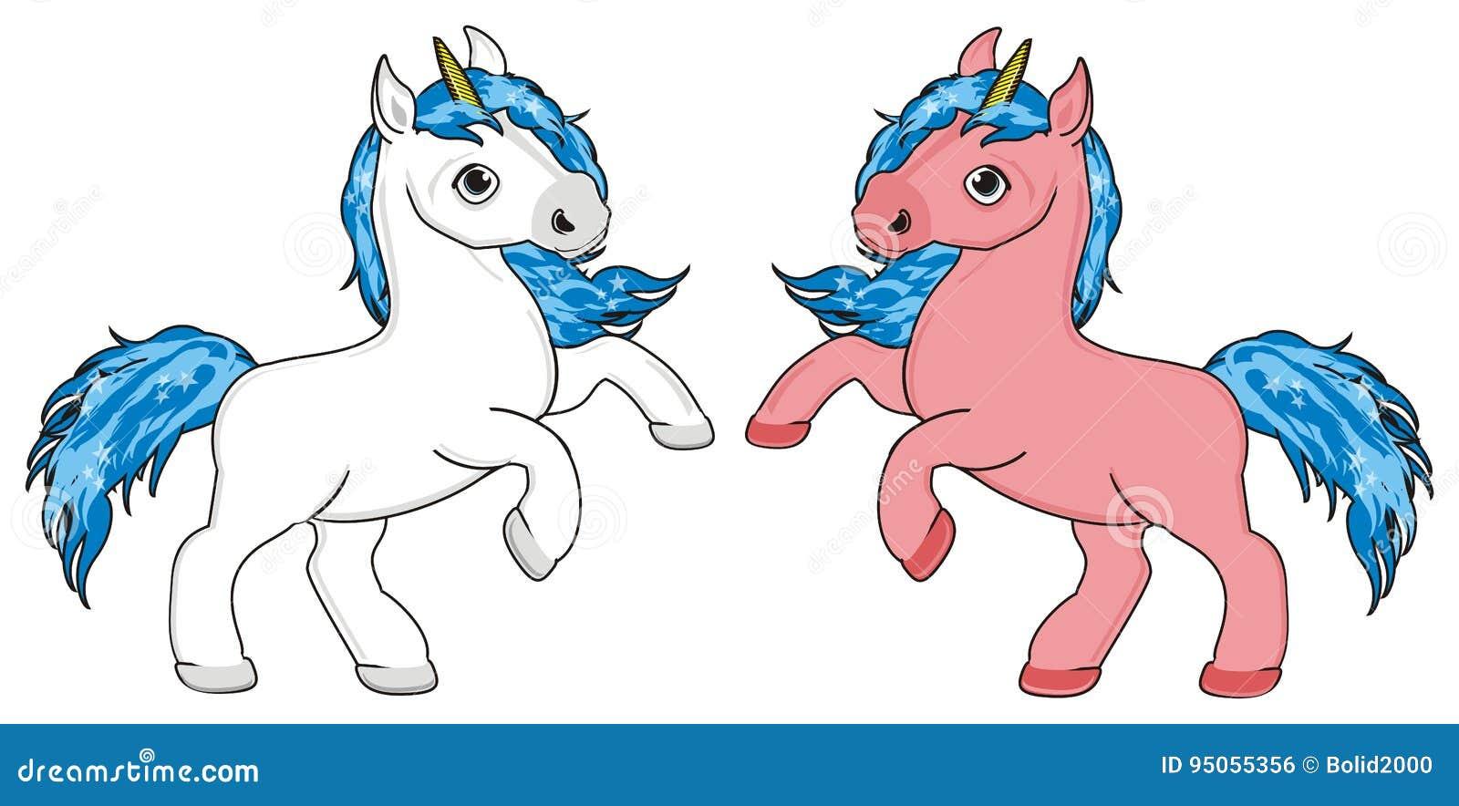 Due Unicorni Colorati Illustrazione Di Stock Illustrazione Di Mane