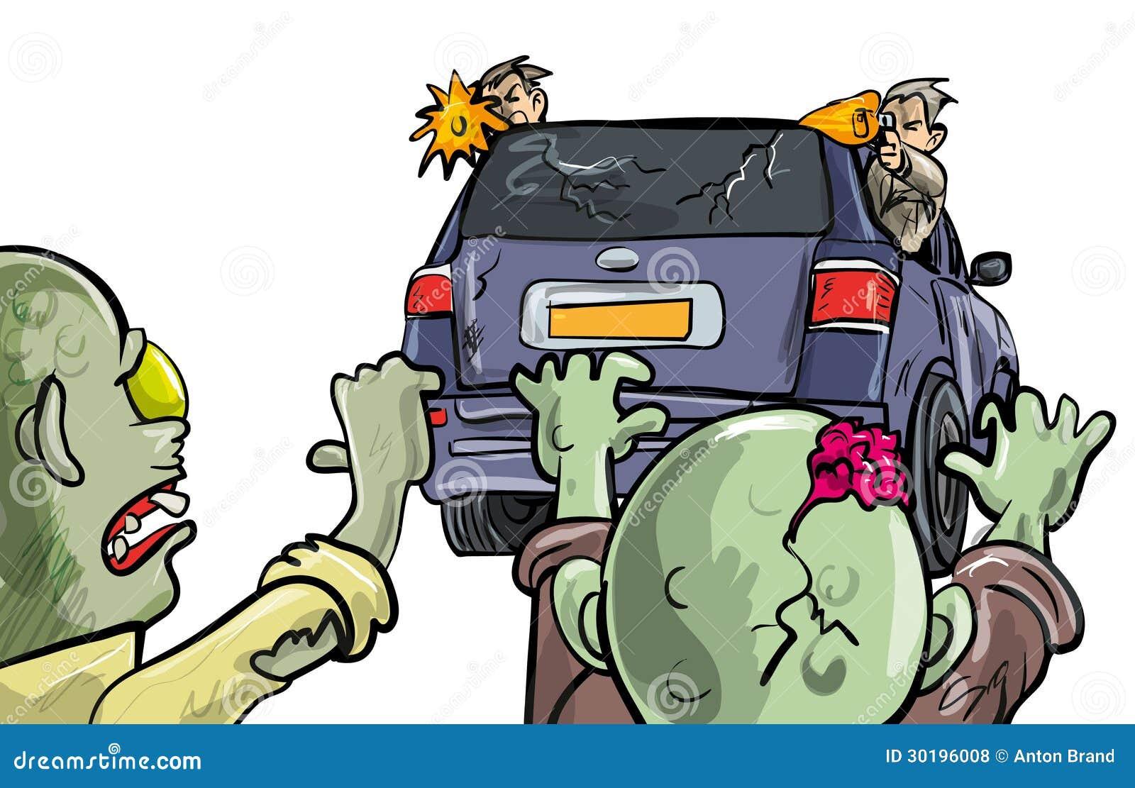 Allontanandosi dalle zombie in un automobile