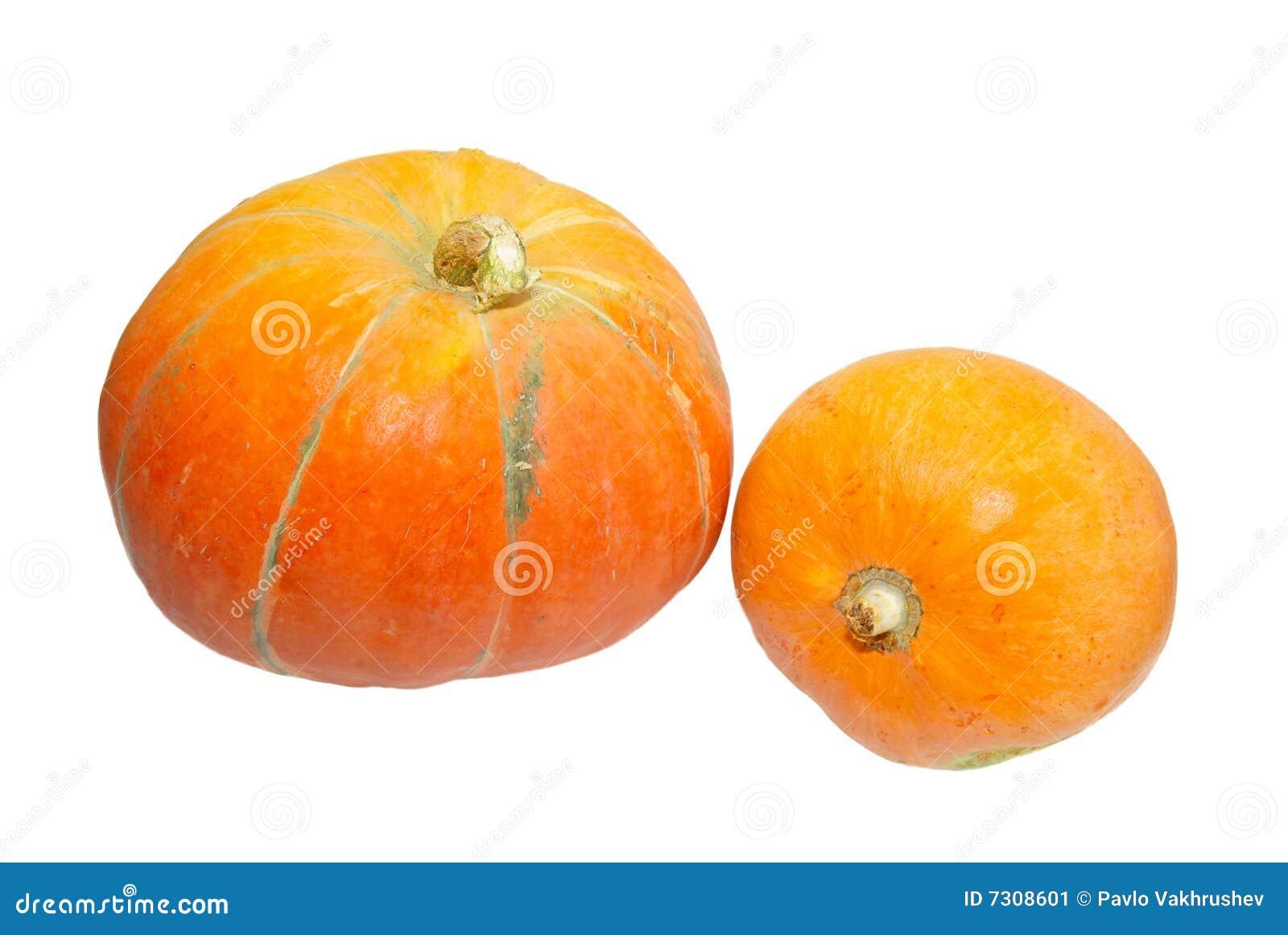 Due zucche arancioni isolate su bianco.