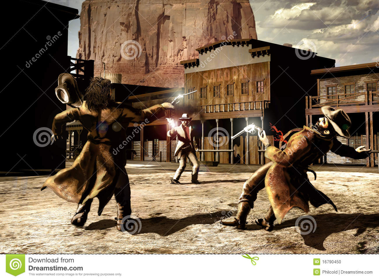 In an old western street, the confrontation between three cowboys. One ...