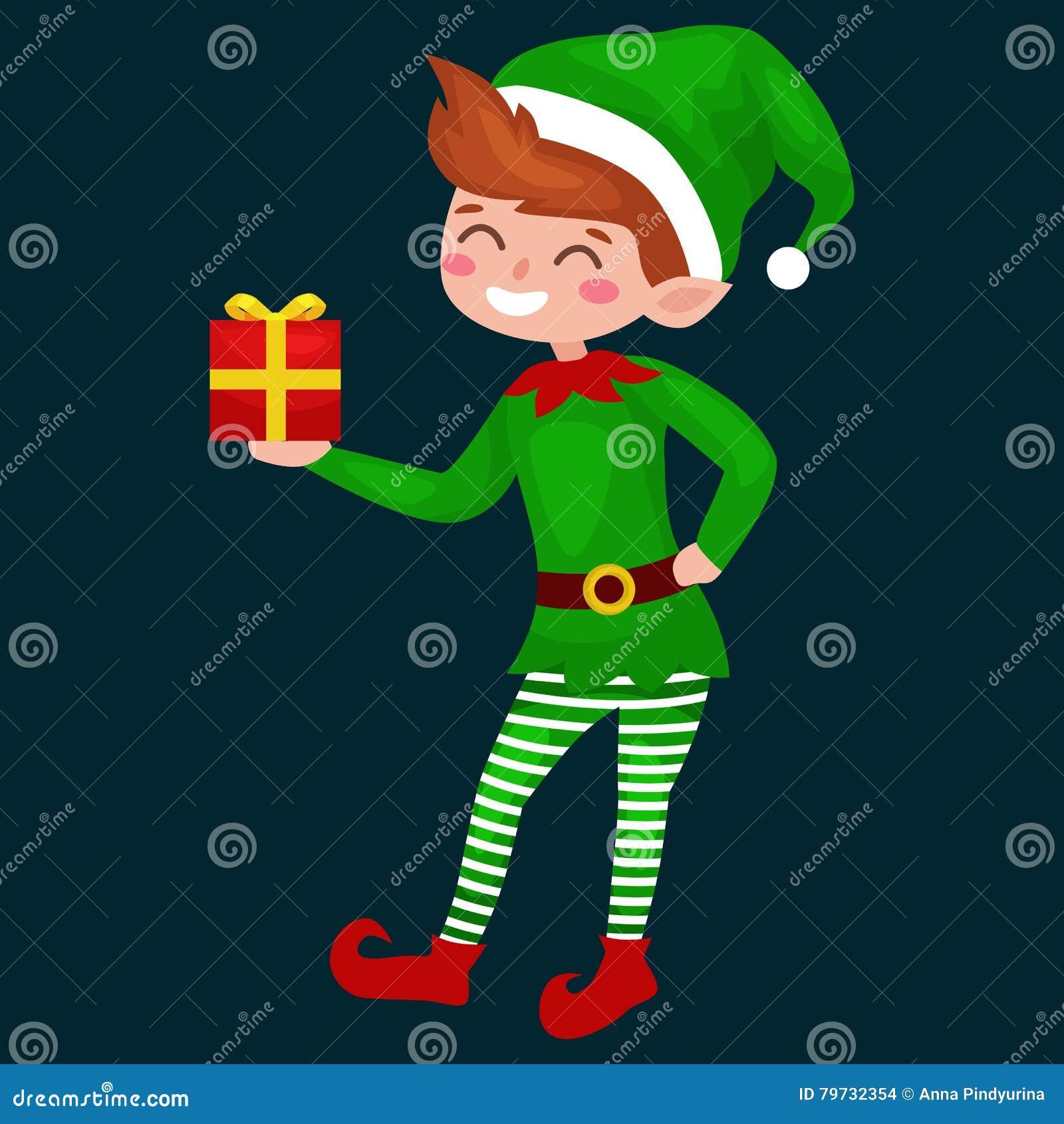 Duende de la Navidad aislado con los regalos en caja en un traje verde con, ayudante de Santa Claus, ayudante del muchacho que so