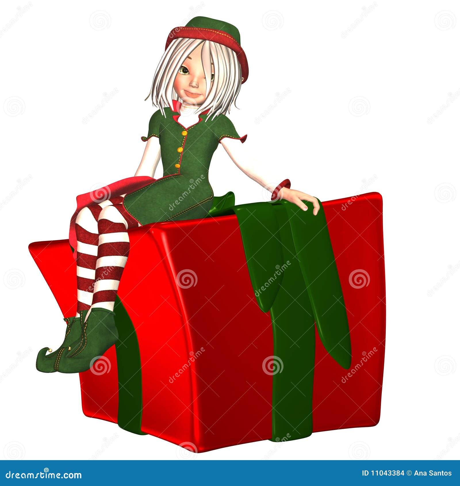 Duende de la Navidad con el presente