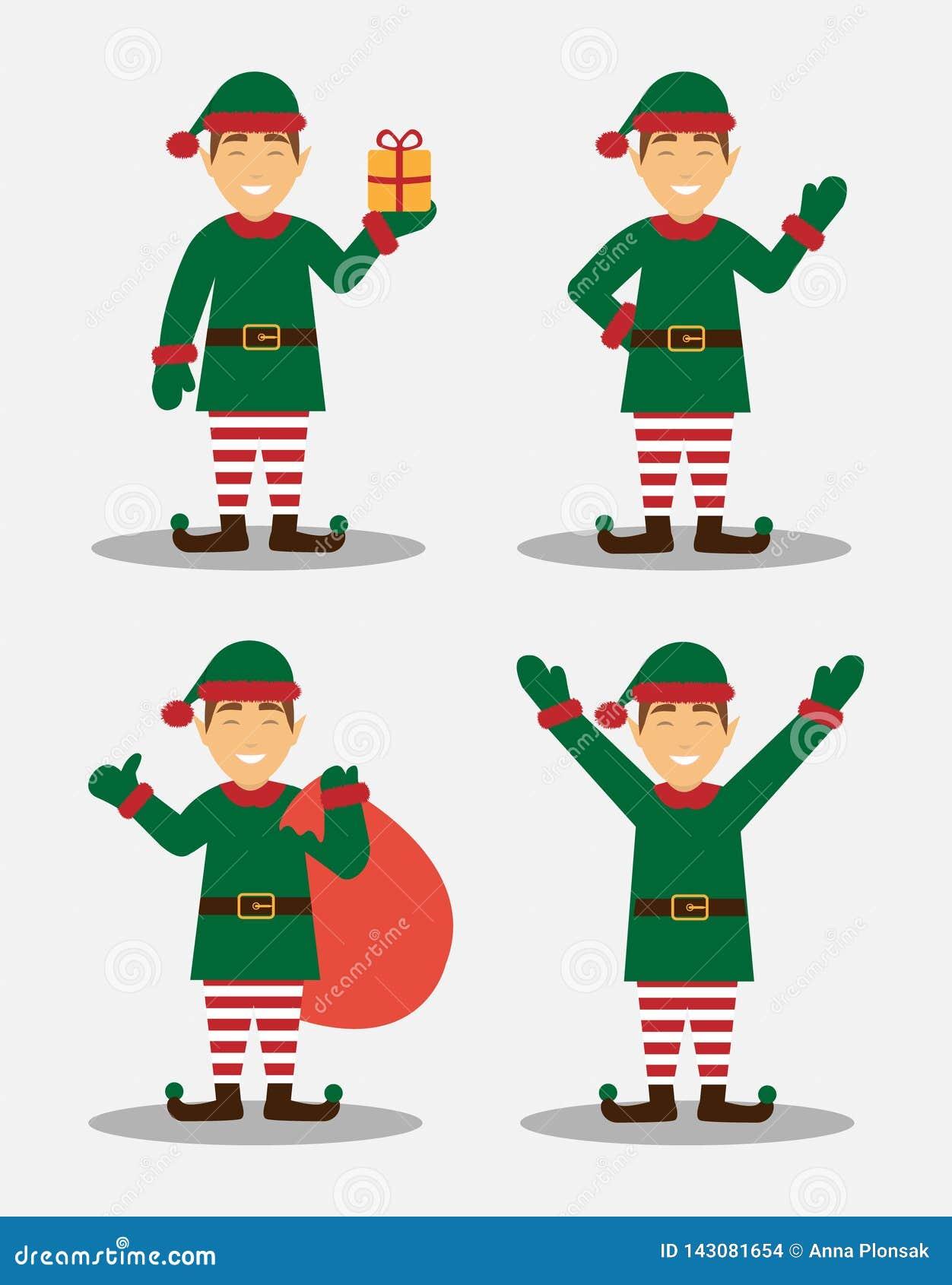 Duende de la Navidad en diversas actitudes Feliz Navidad y Feliz Año Nuevo Diseño plano