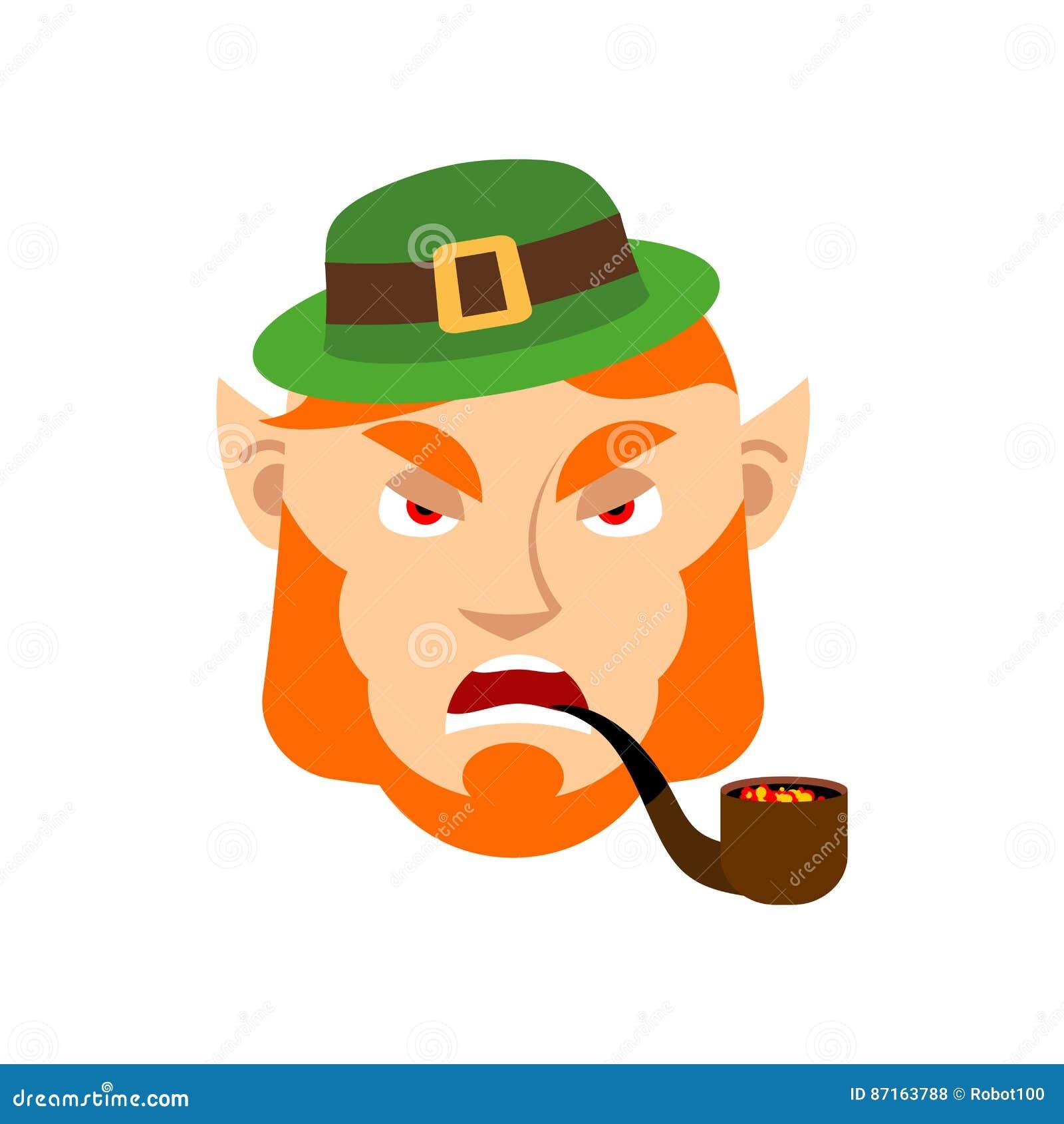 Duende Enojado Enano Con La Barba Roja Emoji Agresivo E Irlandesa ...