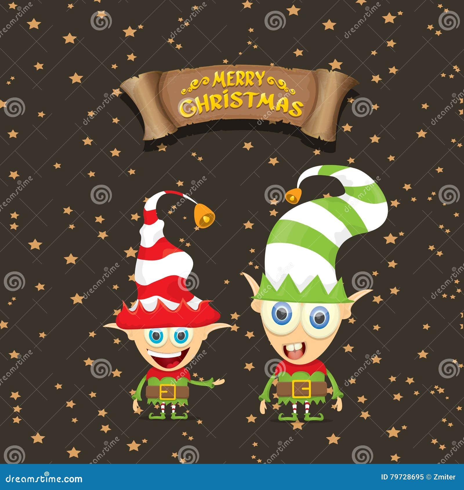 Duende lindo de la Feliz Navidad de la historieta del vector