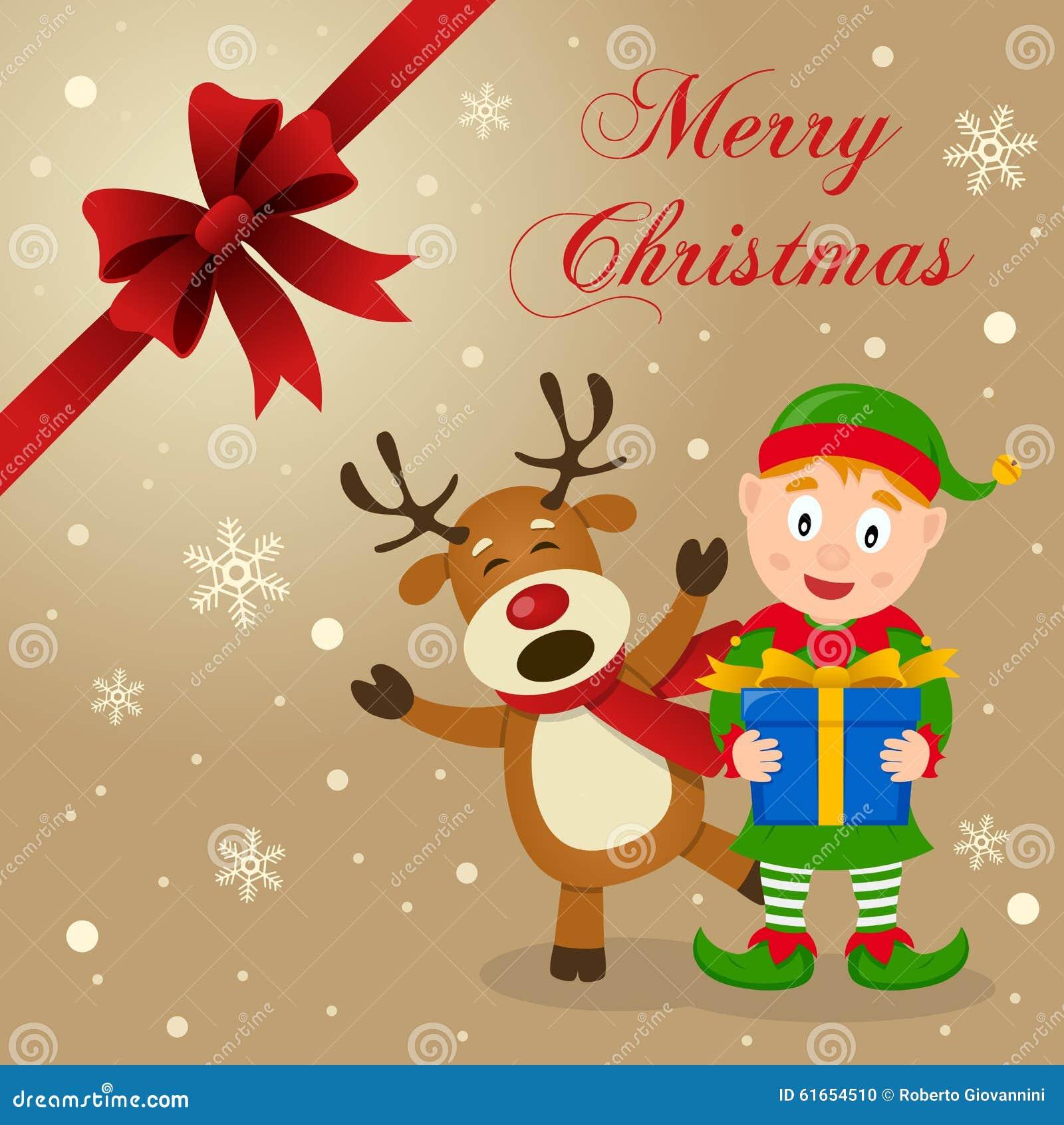 Duende y tarjeta de Navidad divertida del reno