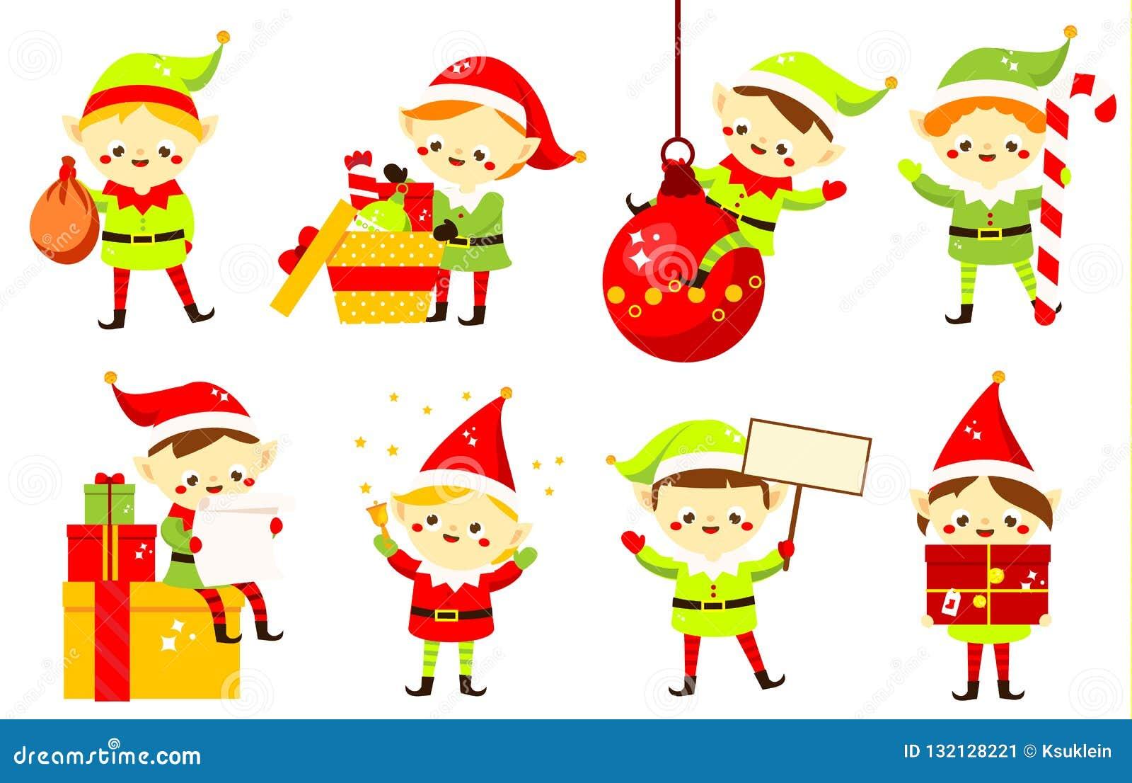 Dibujos De Navidad Regalos.Duendes De La Navidad Coleccion De Los Ayudantes De Papa