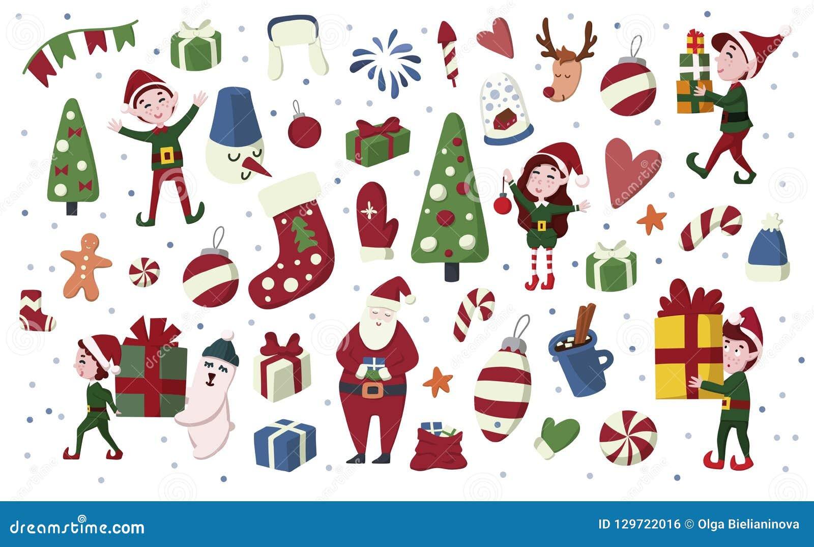Duendes de la Navidad, Santa Claus, ciervos, regalo etc sistema exhausto de la mano en estilo de la historieta