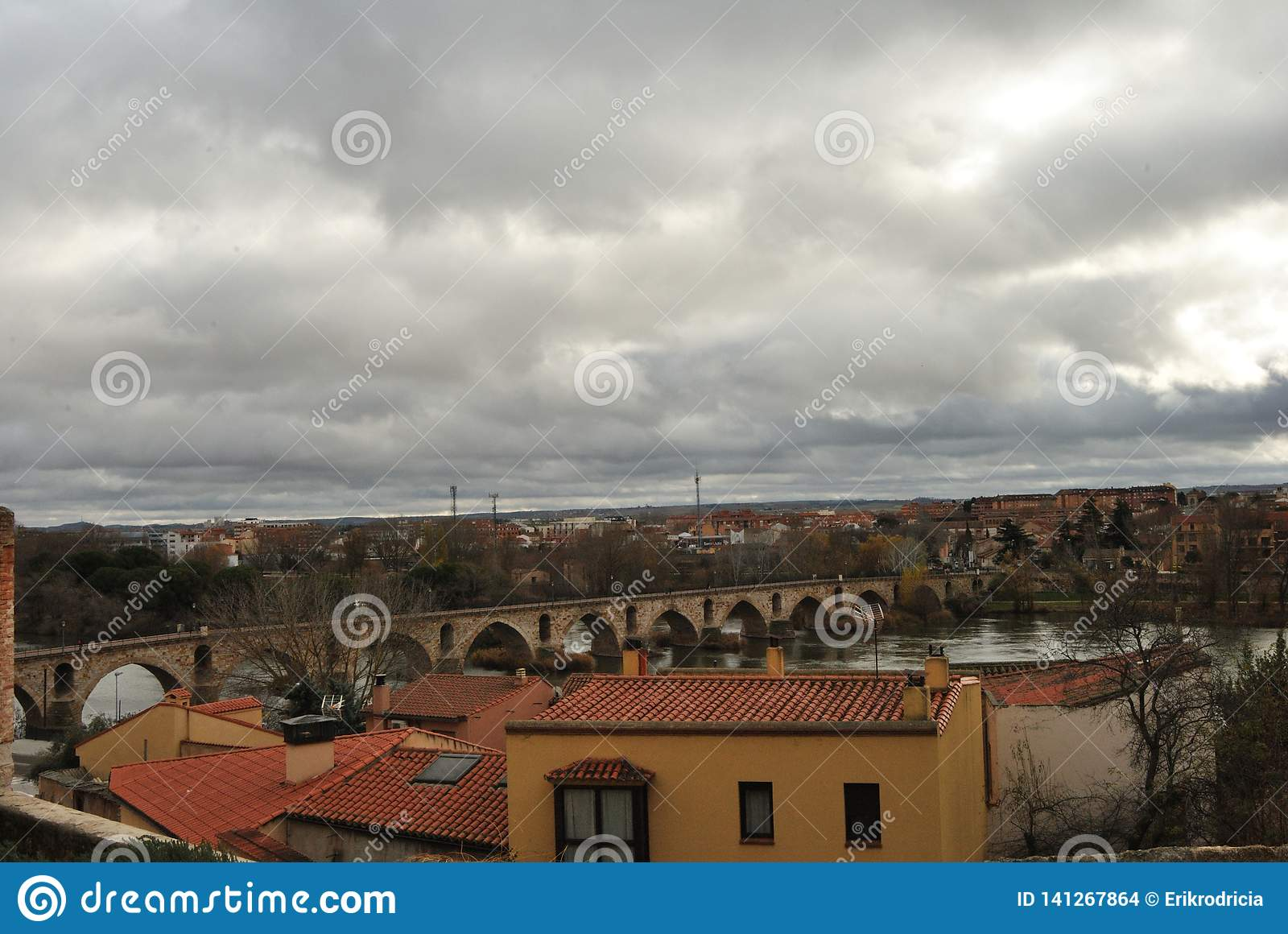 Duero River and stone bridge from Pizarro` Street viewpoint, Zamora, Spain