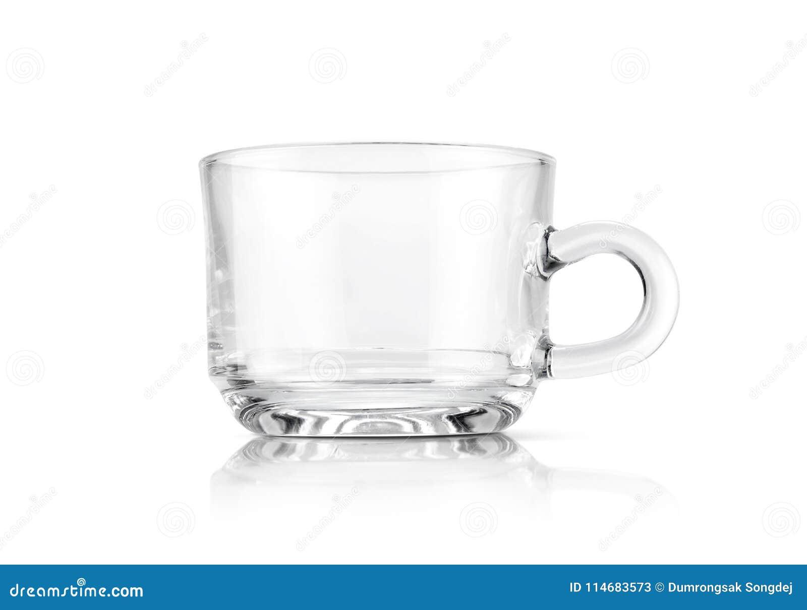 Duidelijke transparante die glaskop op witte achtergrond wordt geïsoleerd
