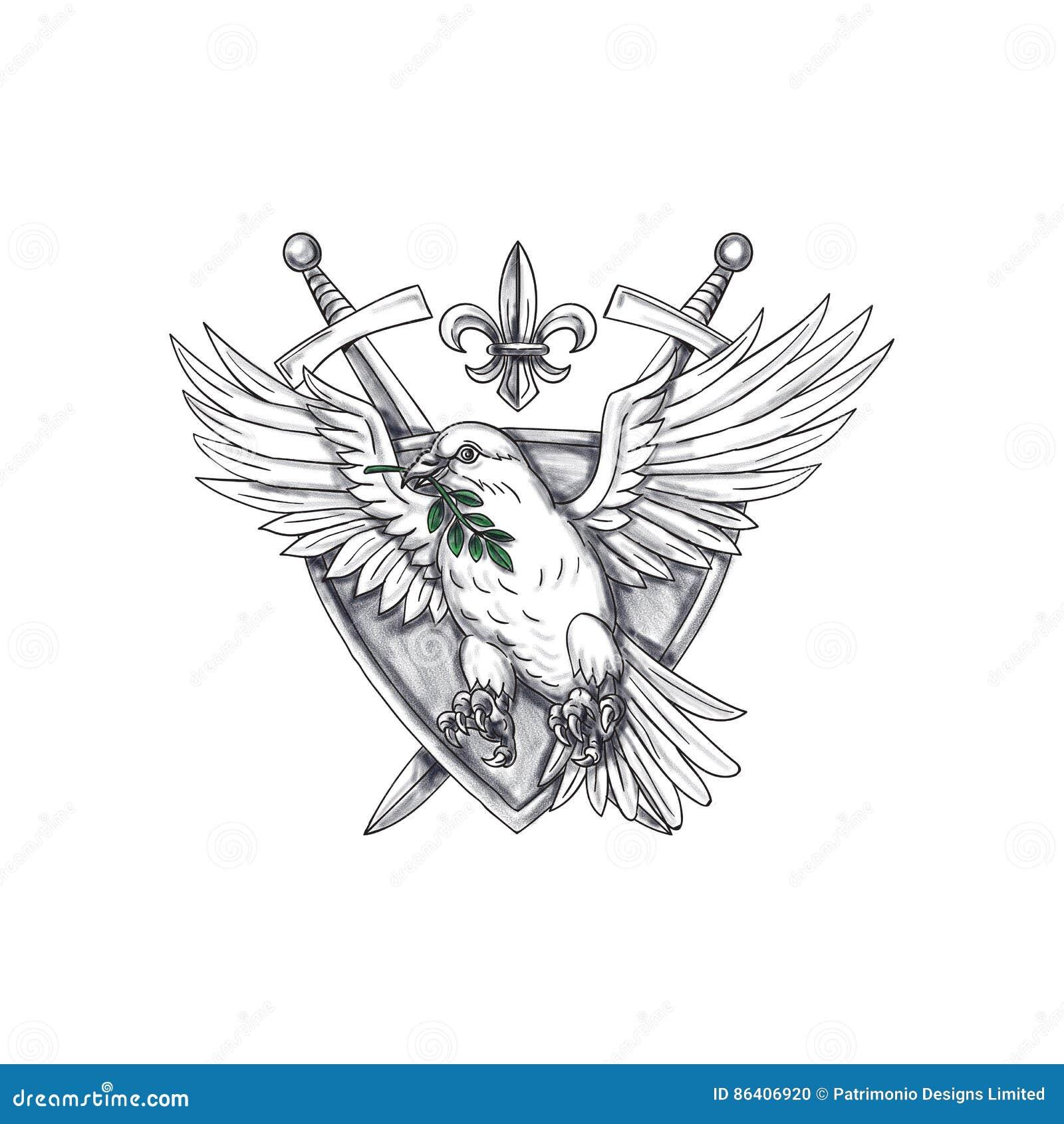 Duif Olive Leaf Sword Crest Tattoo Stock Illustratie