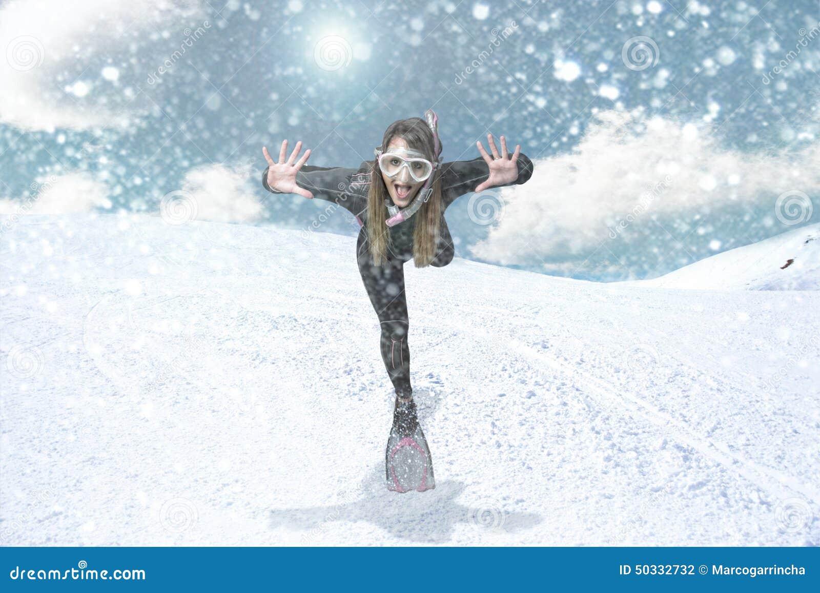Duiker in een sneeuwblizzard