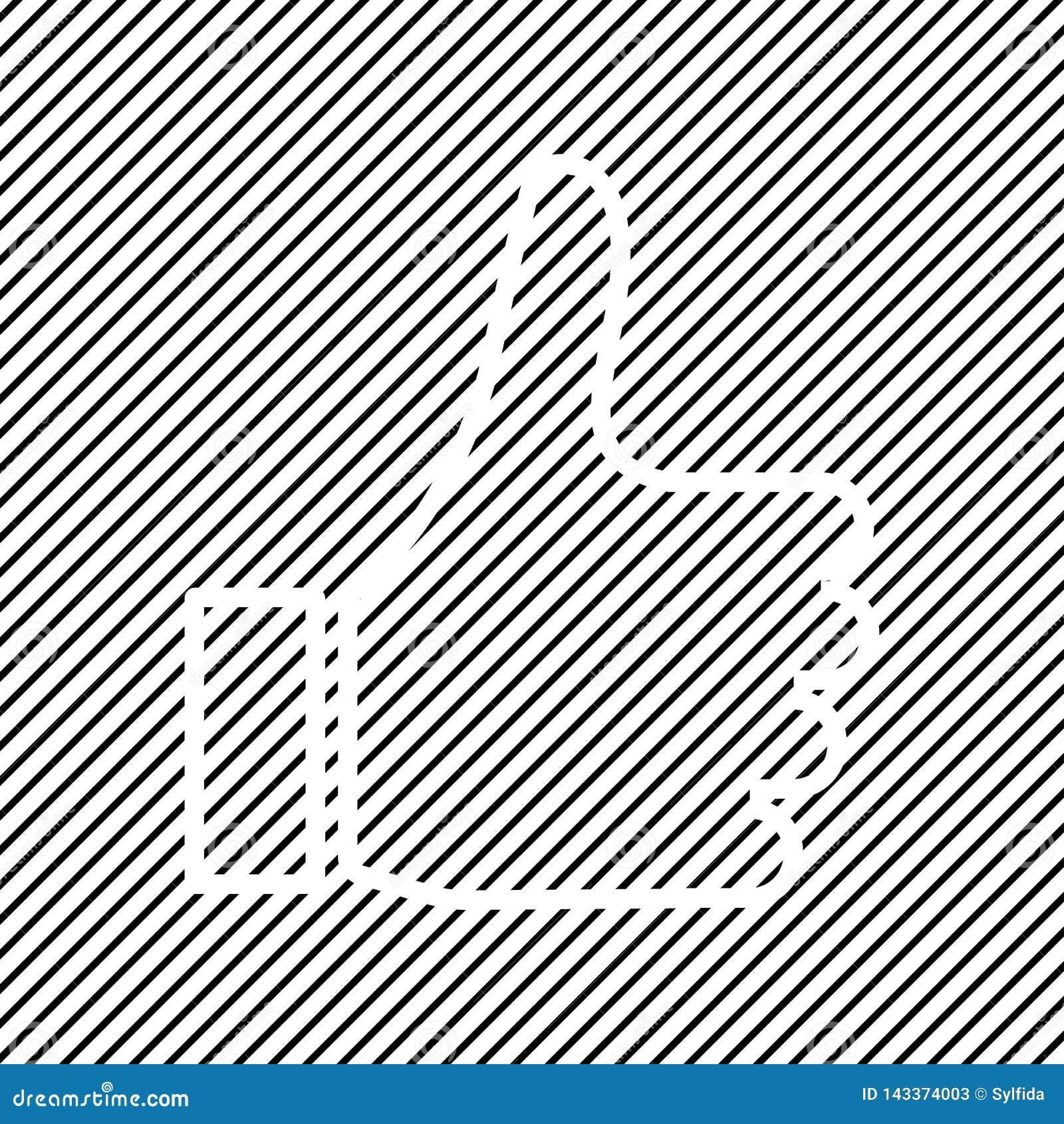 Duim op pictogram, zoals pictogram op zwarte gestreepte achtergrond, overzichtsontwerp Vector
