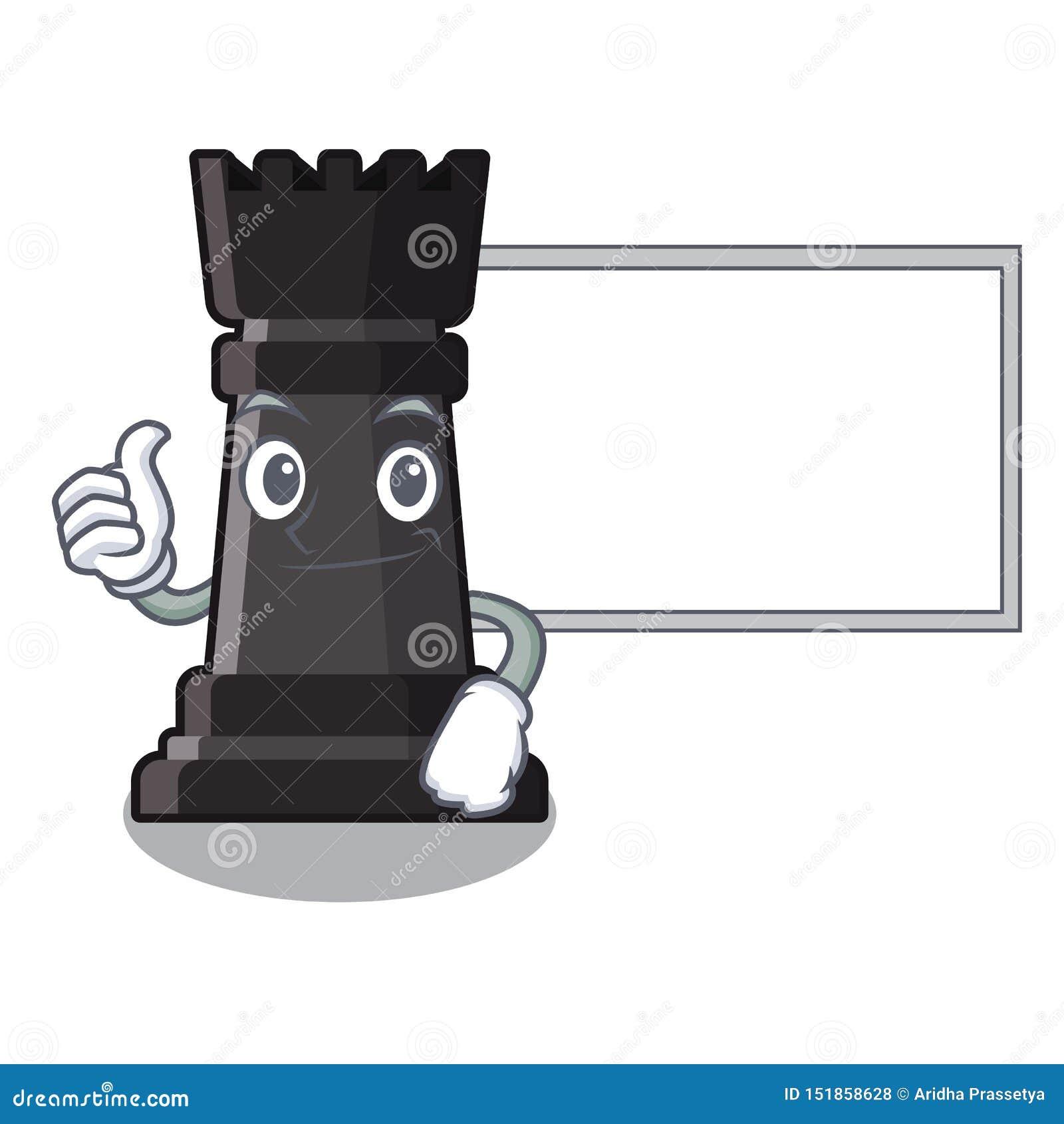 Duimen omhoog met het schaakspeelgoed van de raadsroek boven beeldverhaallijst
