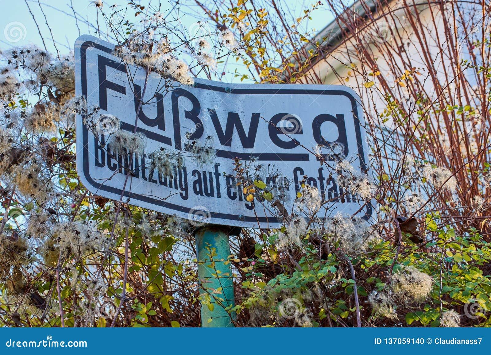 Duits teken voor een voetpad