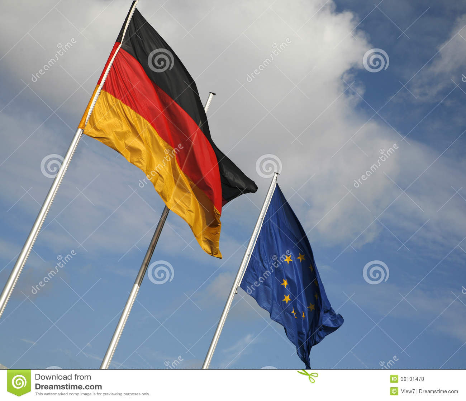 Duitse en Europese vlaggen