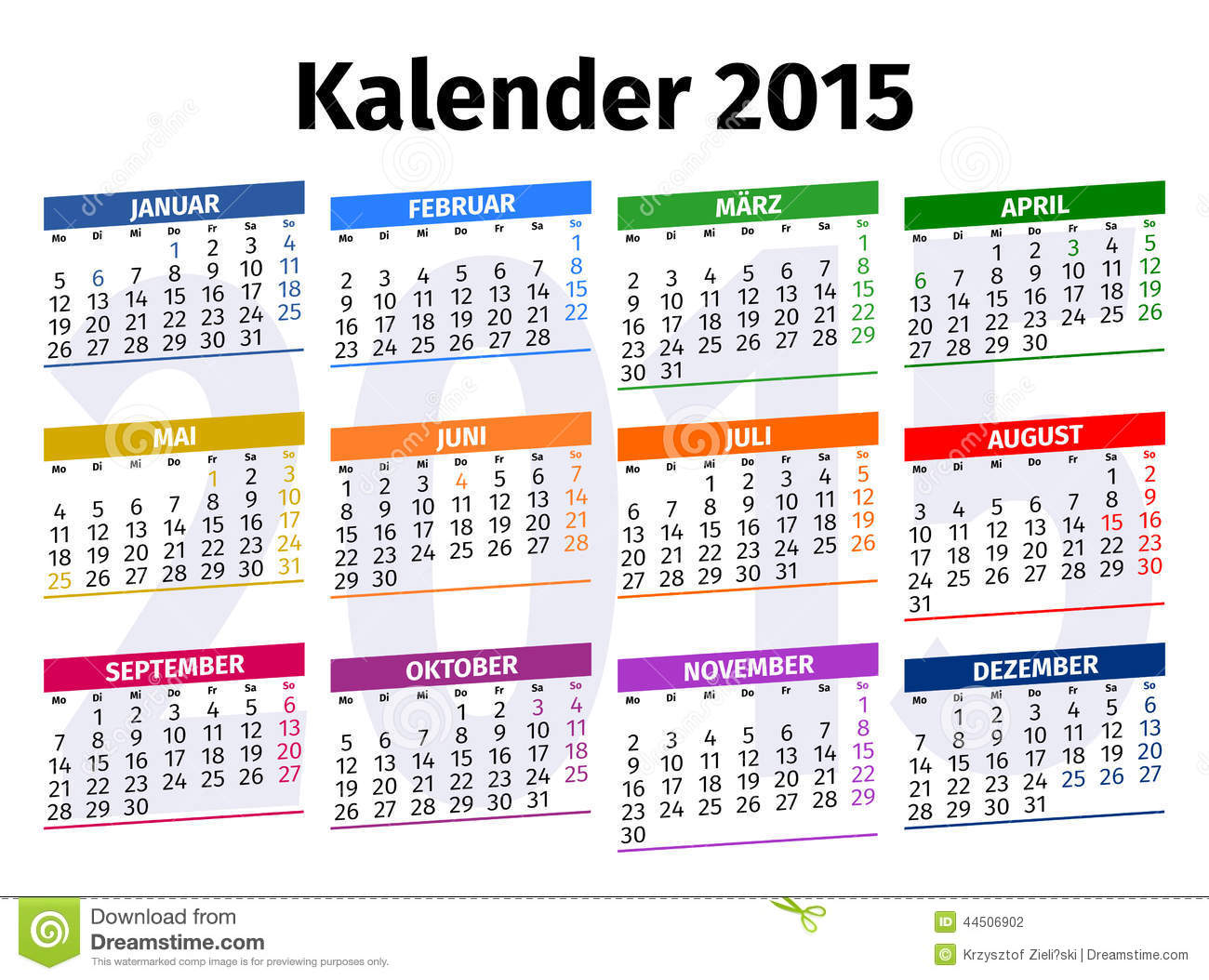 duitse kalender 2015 stock illustratie afbeelding. Black Bedroom Furniture Sets. Home Design Ideas