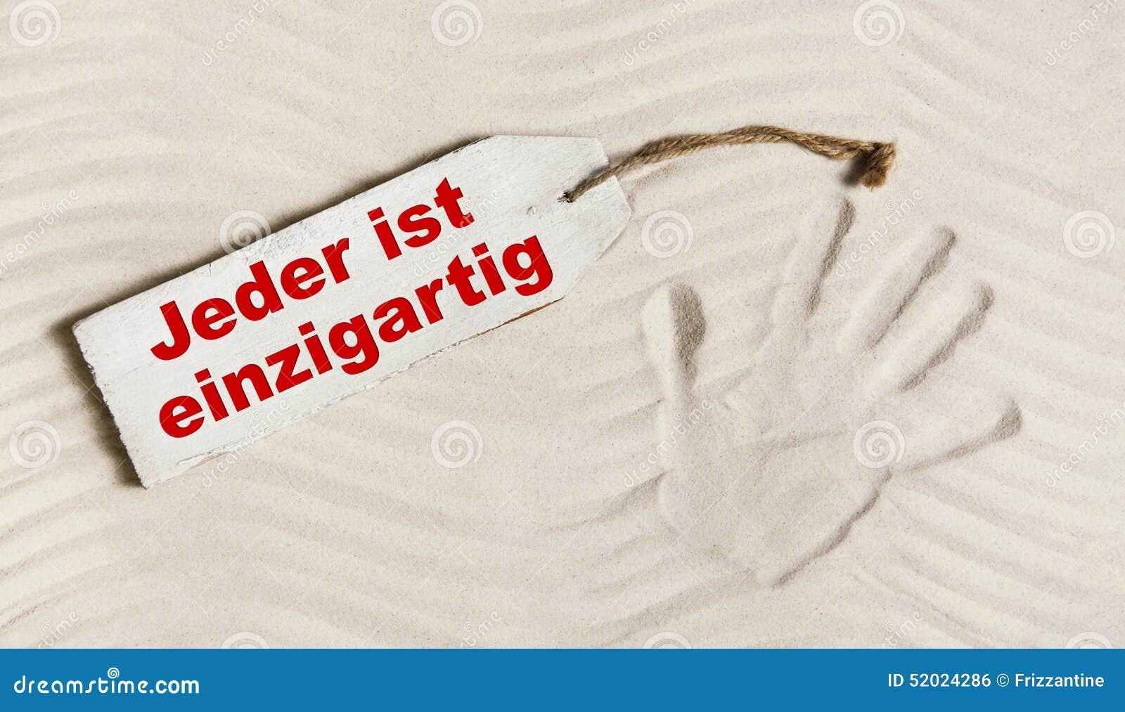 Duitse Slogan Iedereen Is Uniek Concept Voor Psychologisch