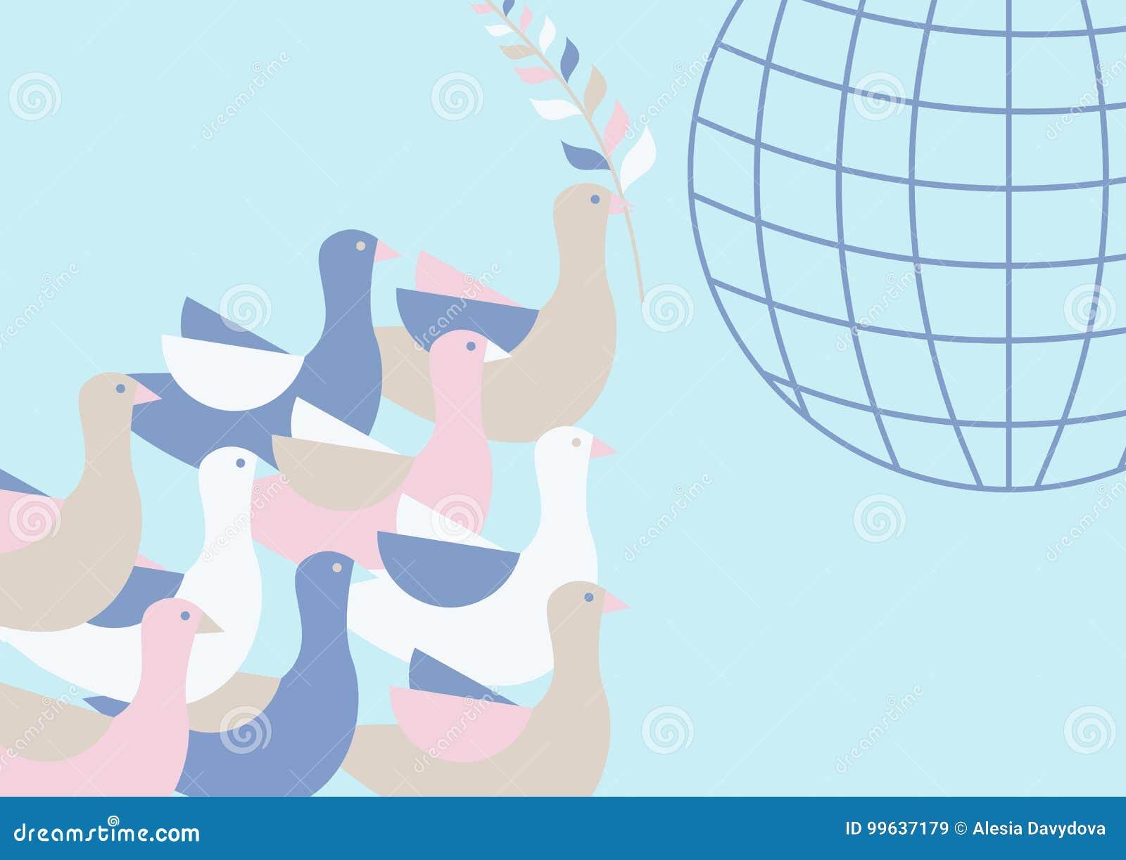 Duiven die in de hemel boven de grond vliegen Een olijftak in de bek van een vogel Model van de aarde