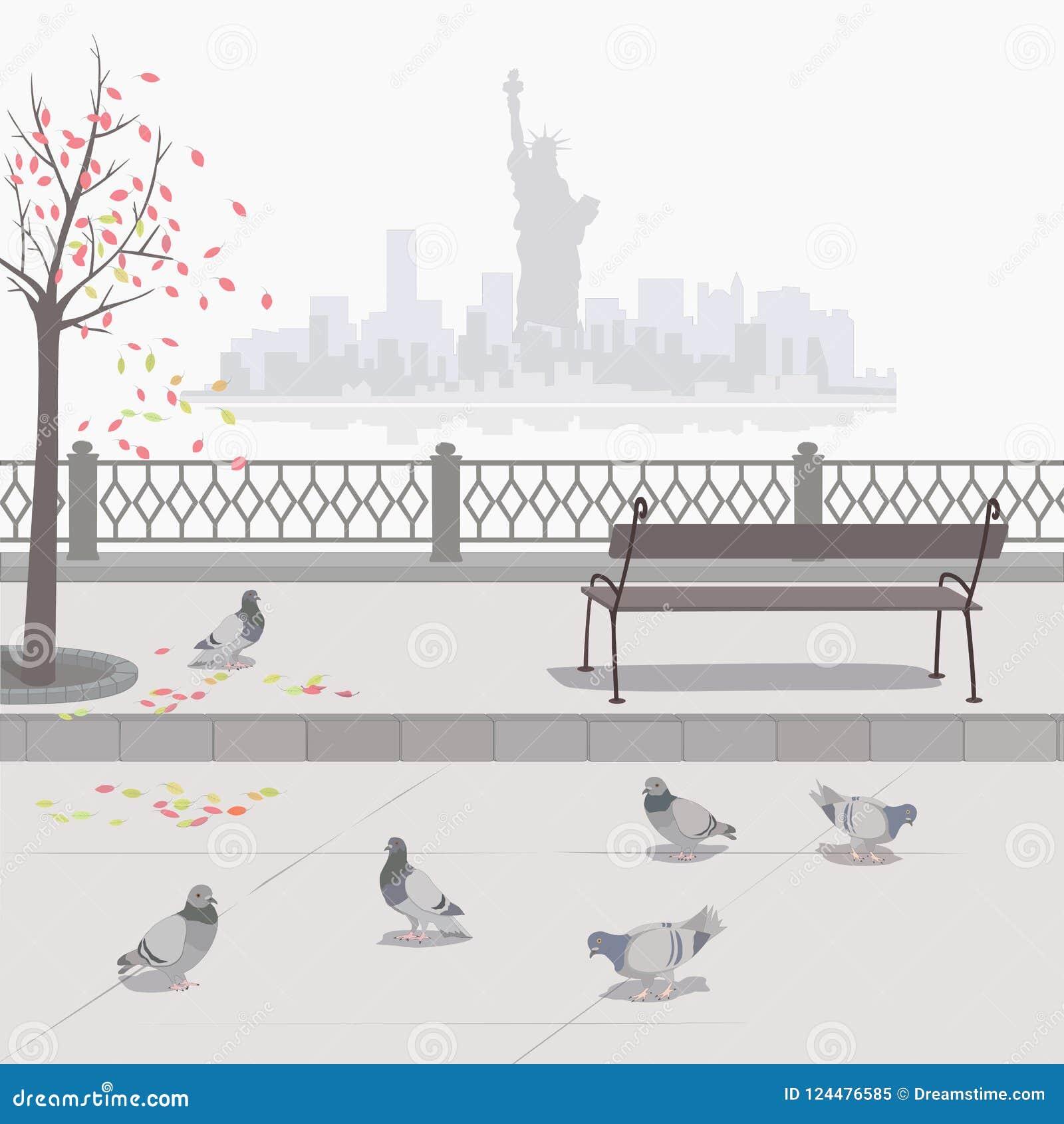 Duiven op de dijk De herfst in New York