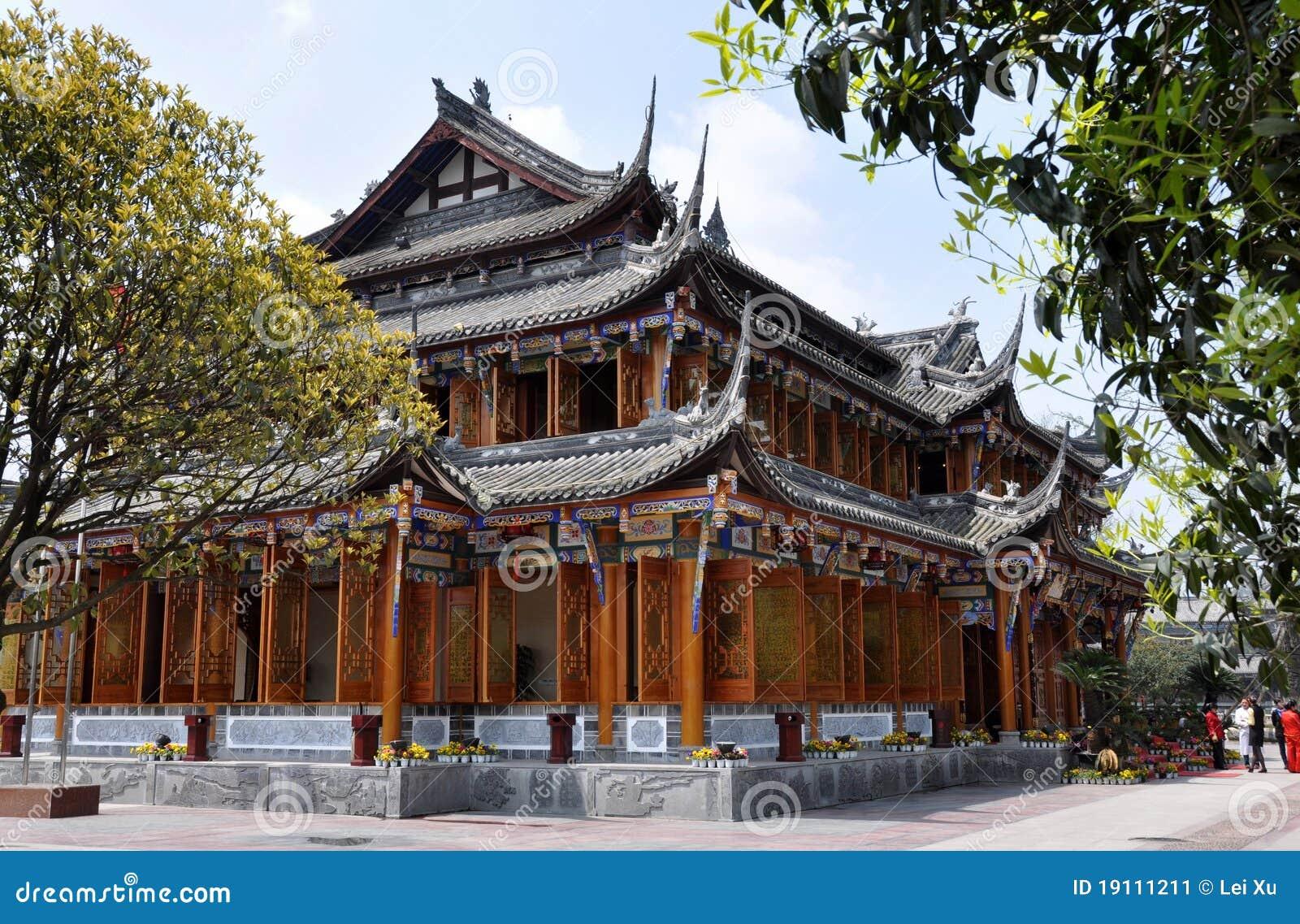 Dujiangyan, chine : salon de thé en bois classique photo éditorial ...