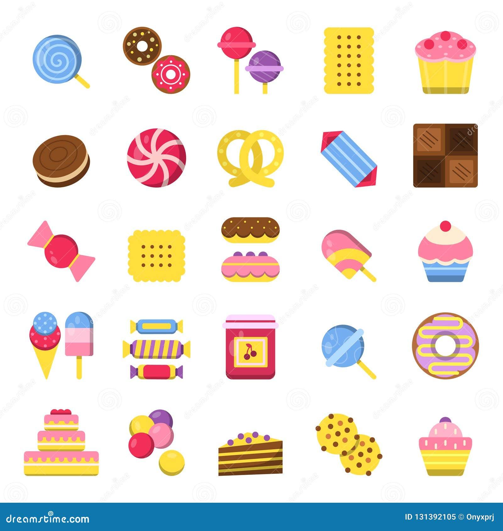 Dulces e iconos de la empanada El vector de la comida de las galletas del chocolate de los caramelos de las crepes y del helado c