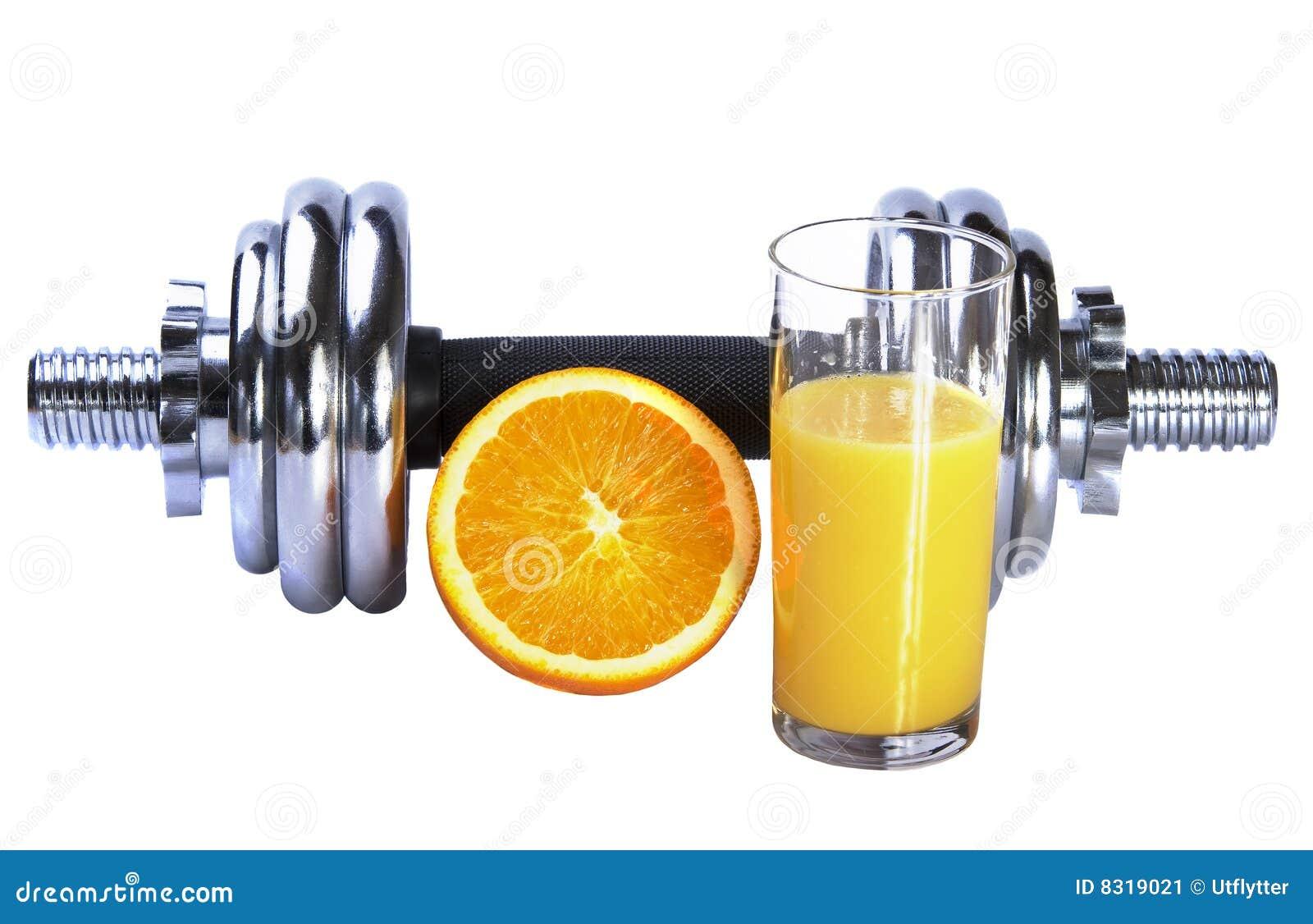 Dumbbel φρέσκο πορτοκάλι χυμού