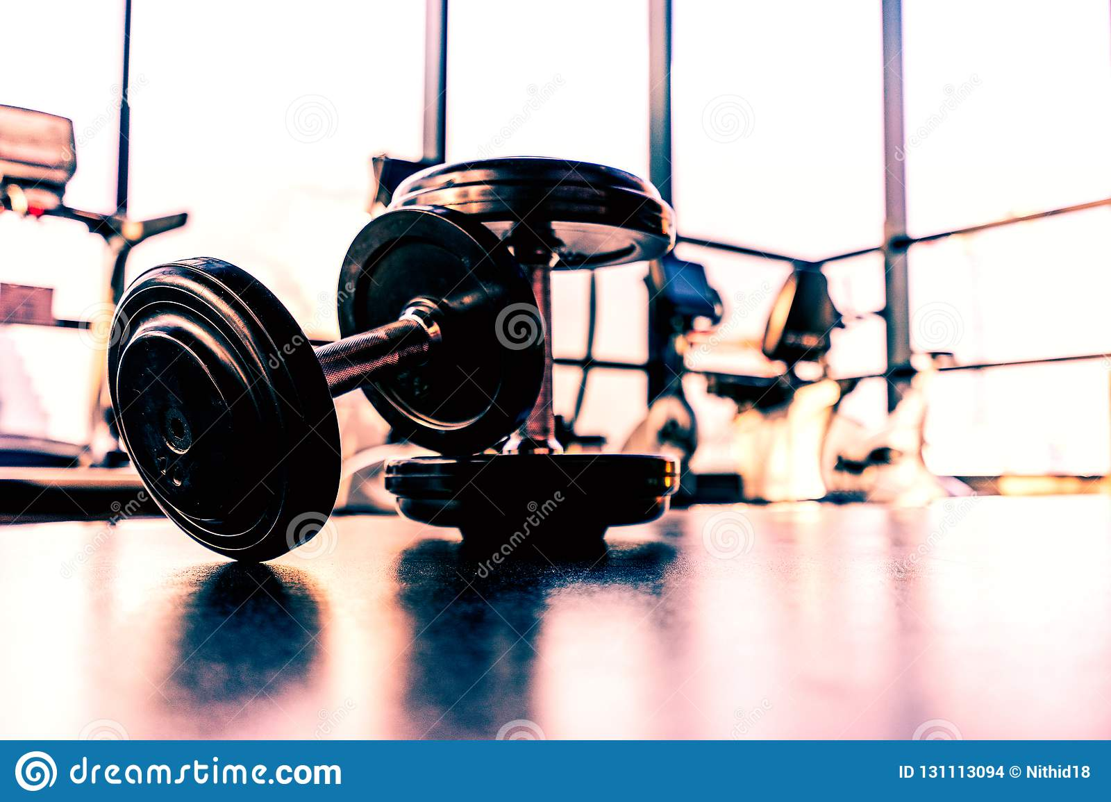 Dumbbell On The Floor In Fitness Room Stock Photo - Image of shadow