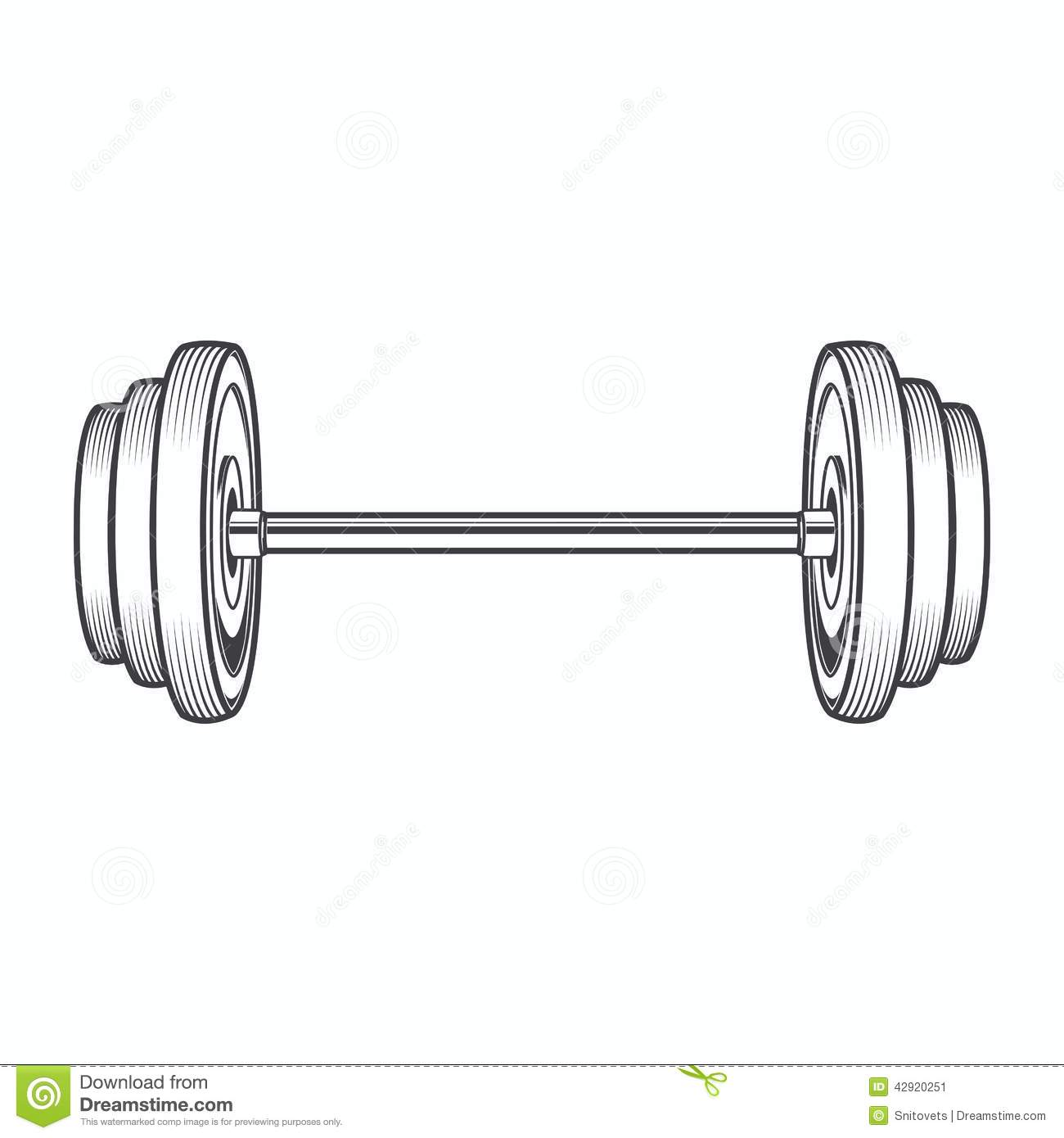 Dumbbell Isolated On White Background. Line Art. Fitness ...