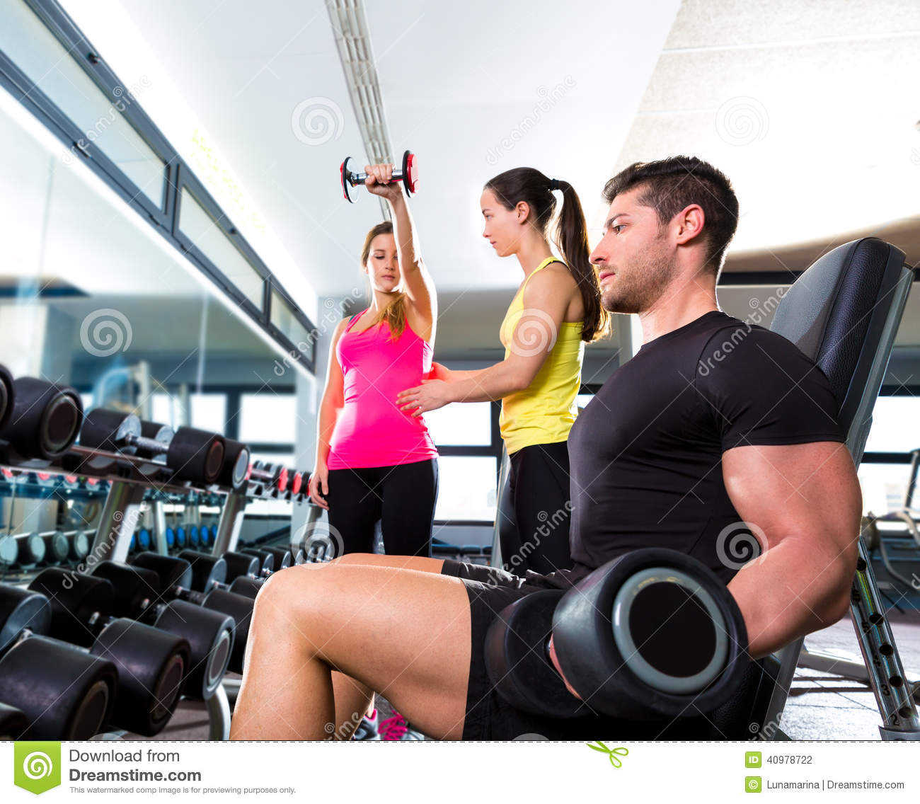 Man Workout: Dumbbell Man At Gym Workout Fitness Weightlifting Stock
