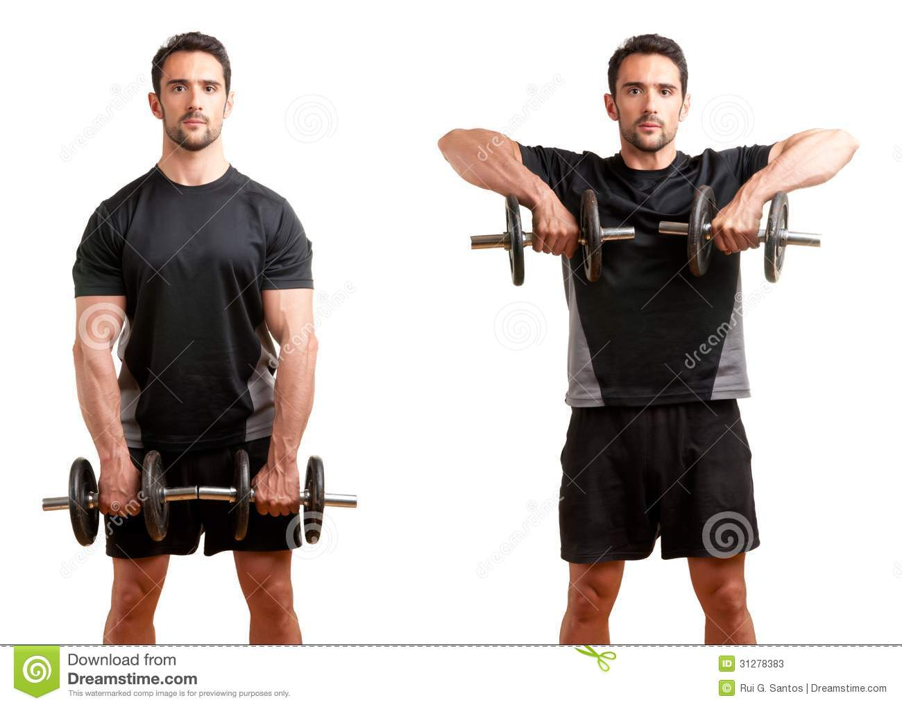 Dumbbell Upright Row Stock Photos - Image: 31278383