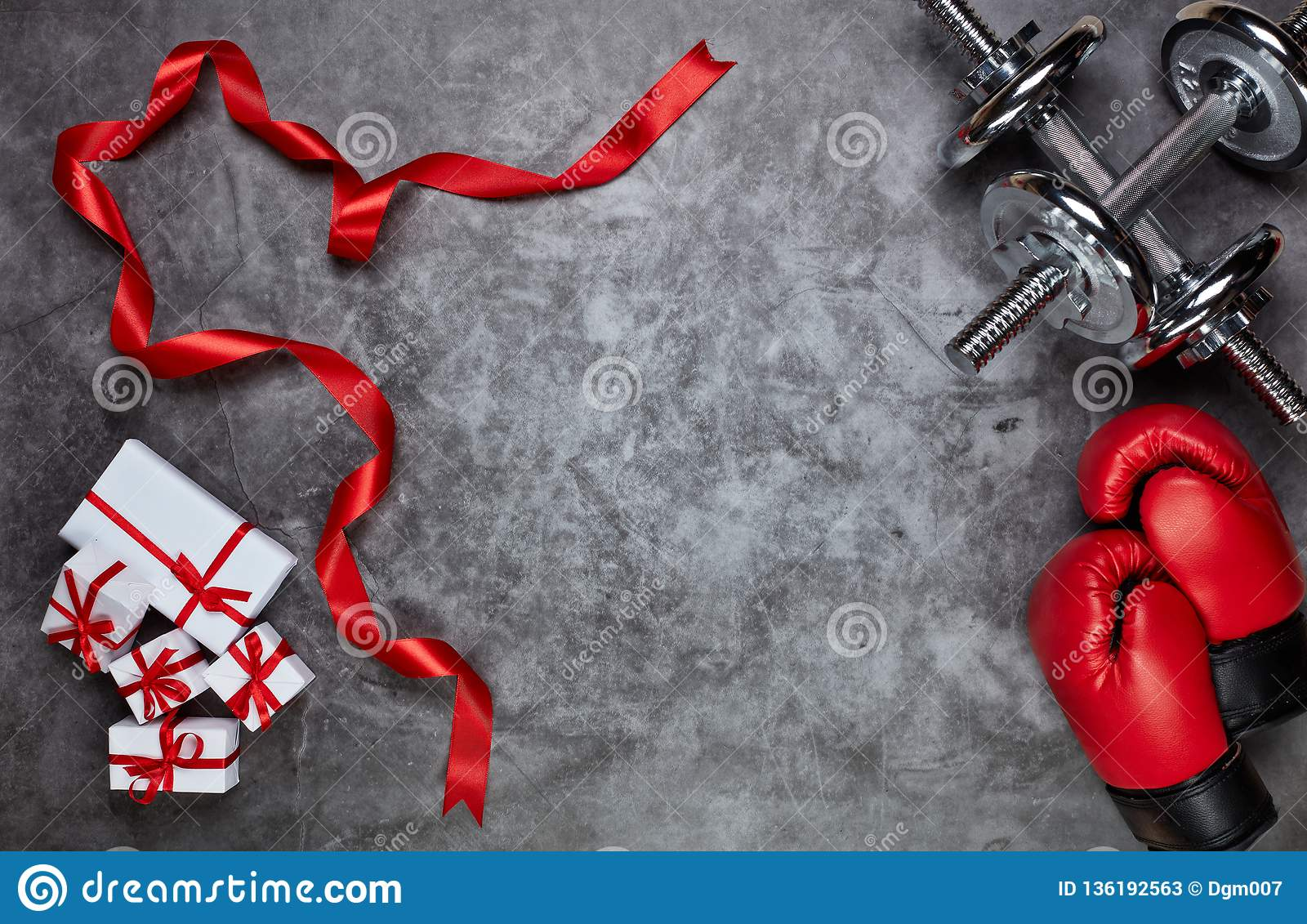 Sport Equipment And Gift Boxes Fitness Stock Image Image Of