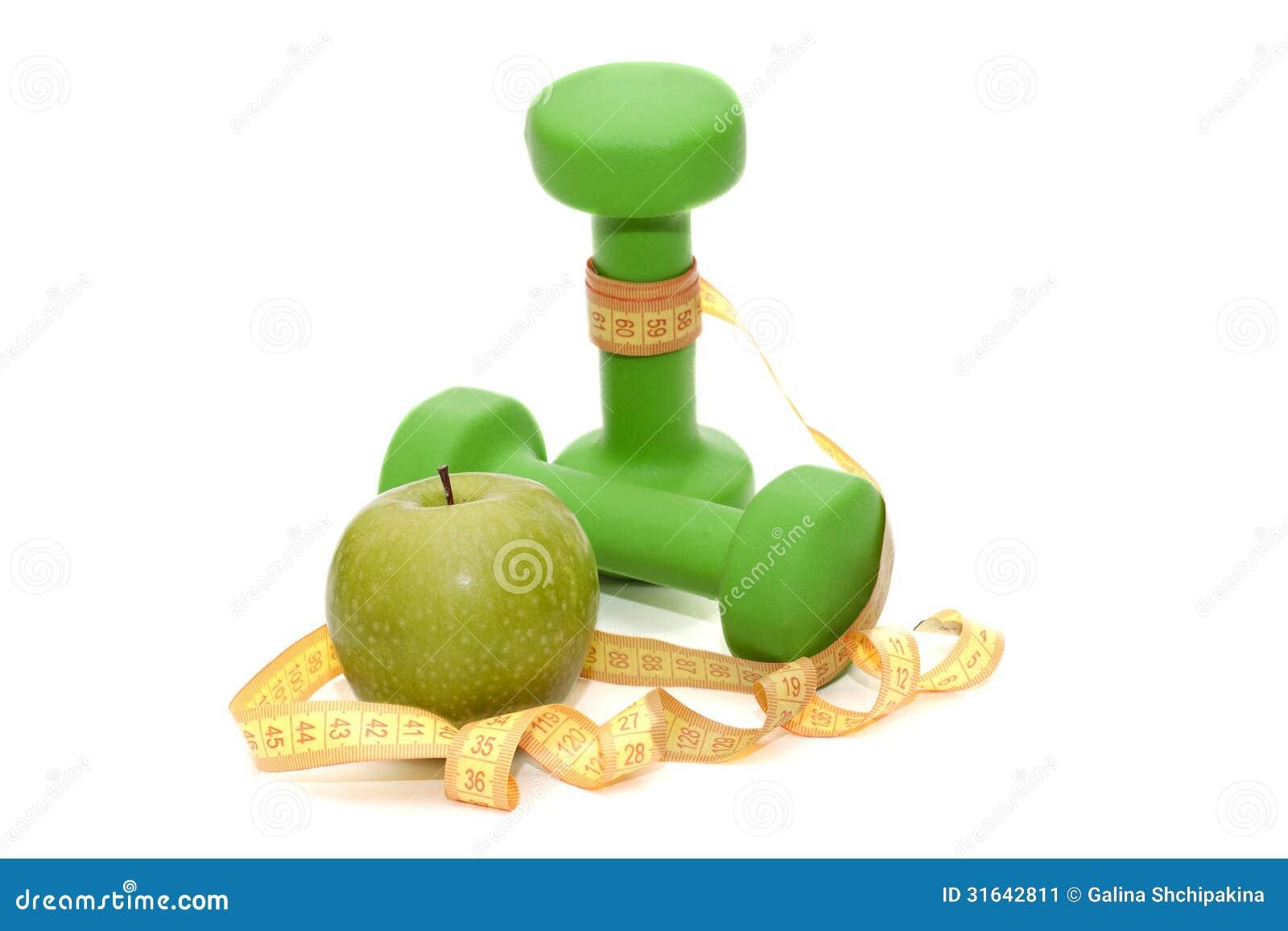 Dumbbells for fitness green apple and centimeter