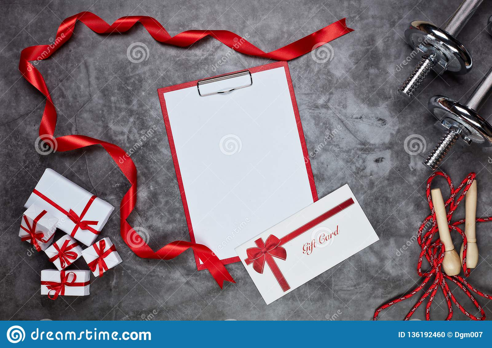 Sport Equipment And Gift Boxes Fitness Stock Photo Image Of