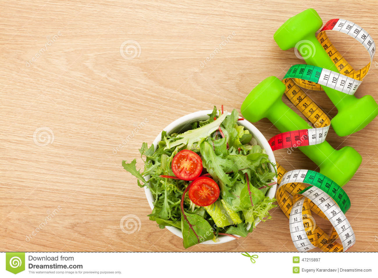Dumbells, Tape Measure And Healthy Food. Fitness And ...