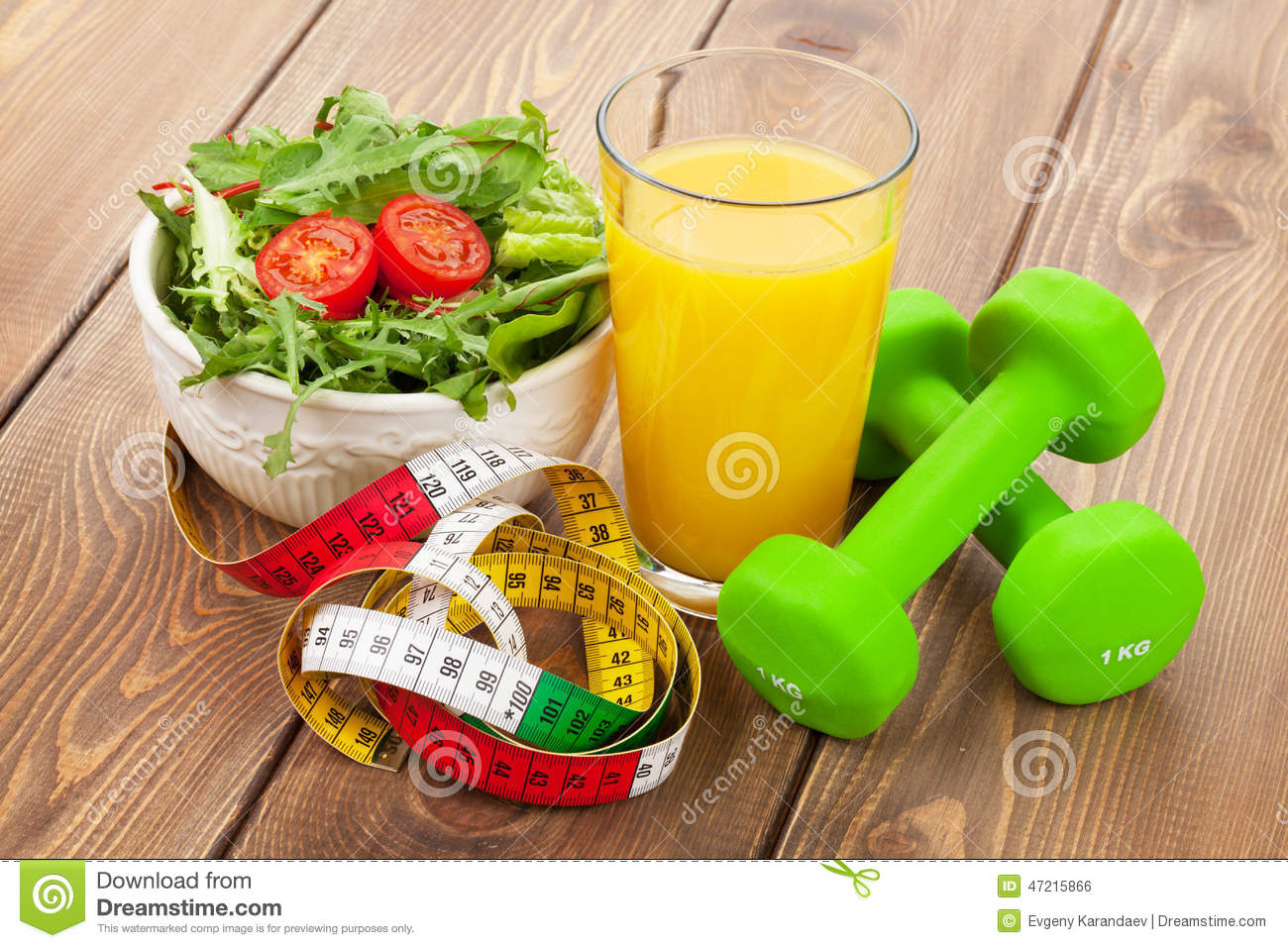 Dumbells, Tape Measure And Healthy Food. Fitness And Health Stock ...