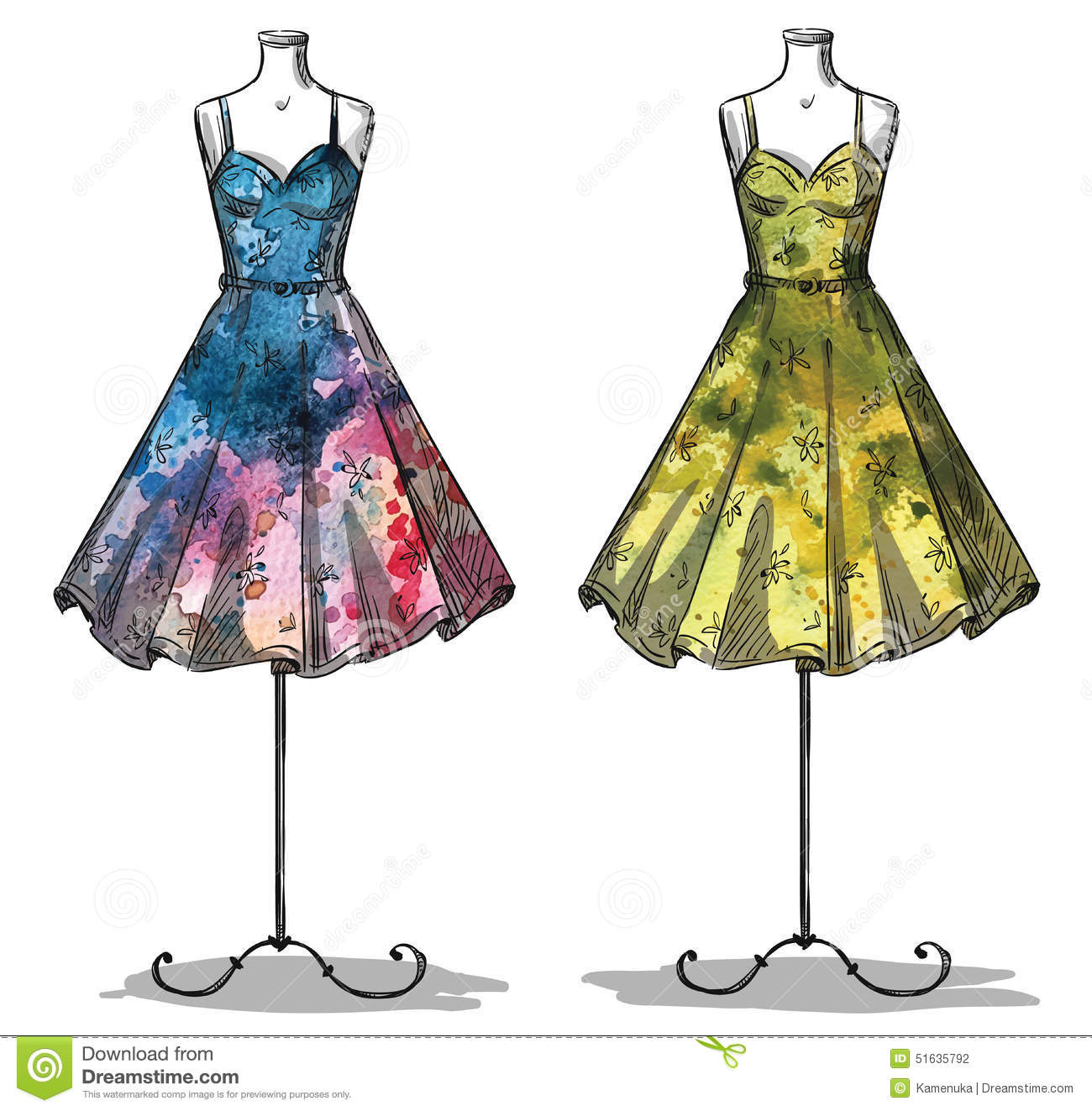 dummies with dresses fashion illustration stock vector